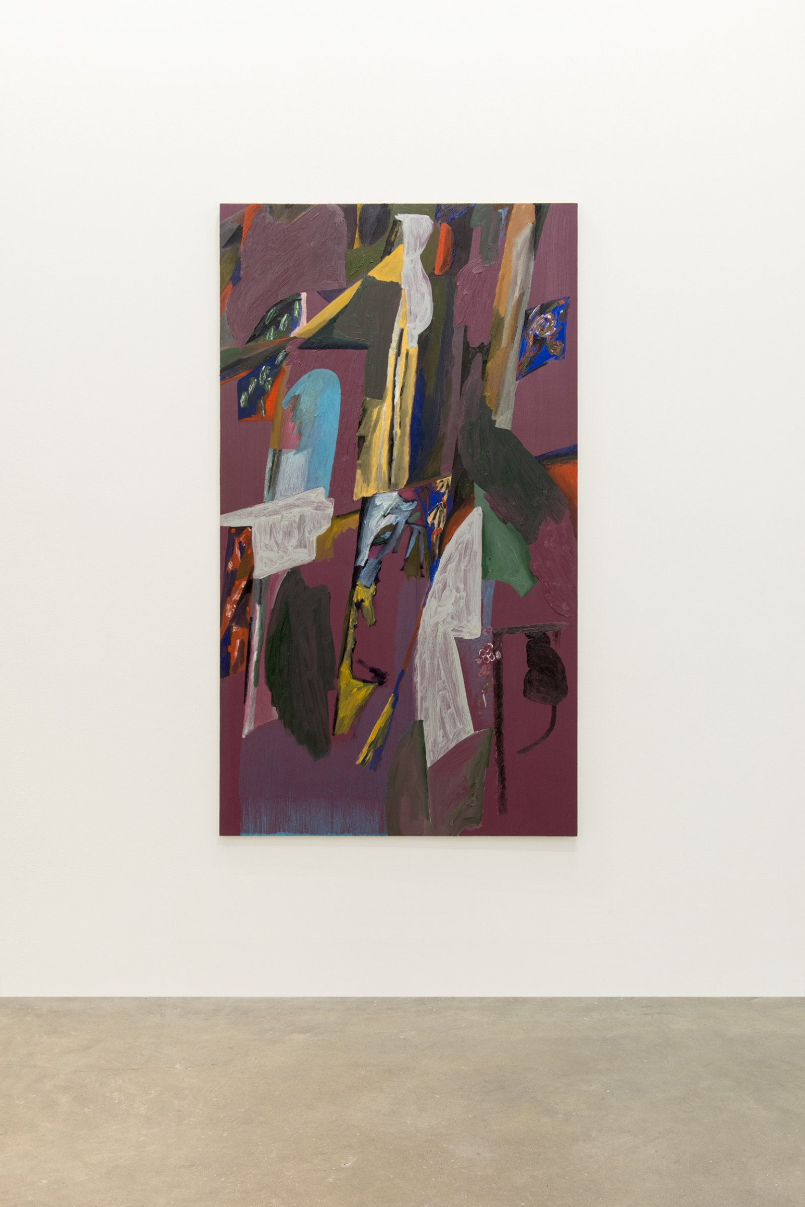Rebecca Brewer, The Screens, 2014, oil on panel, 69 x 38 in. (174 x 97 cm)