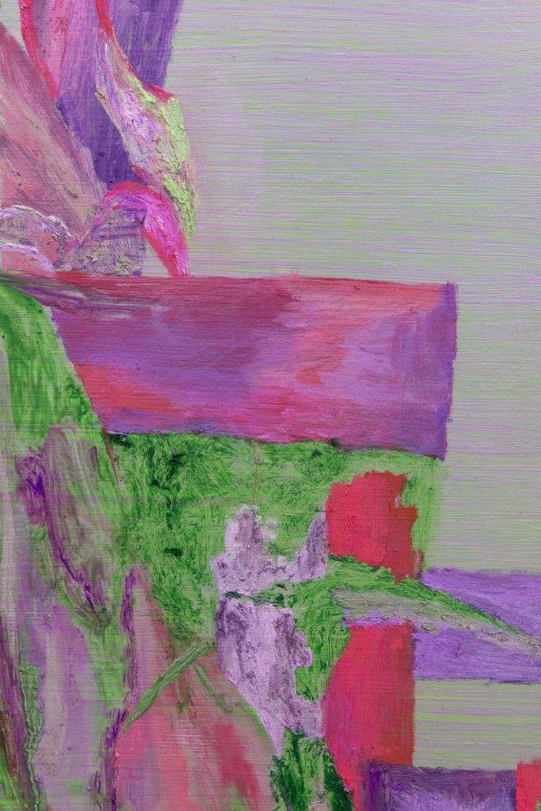 Rebecca Brewer, Flower Dumpster (detail), 2018, oil on panel, 42 x 36 in. (107 x 92 cm)