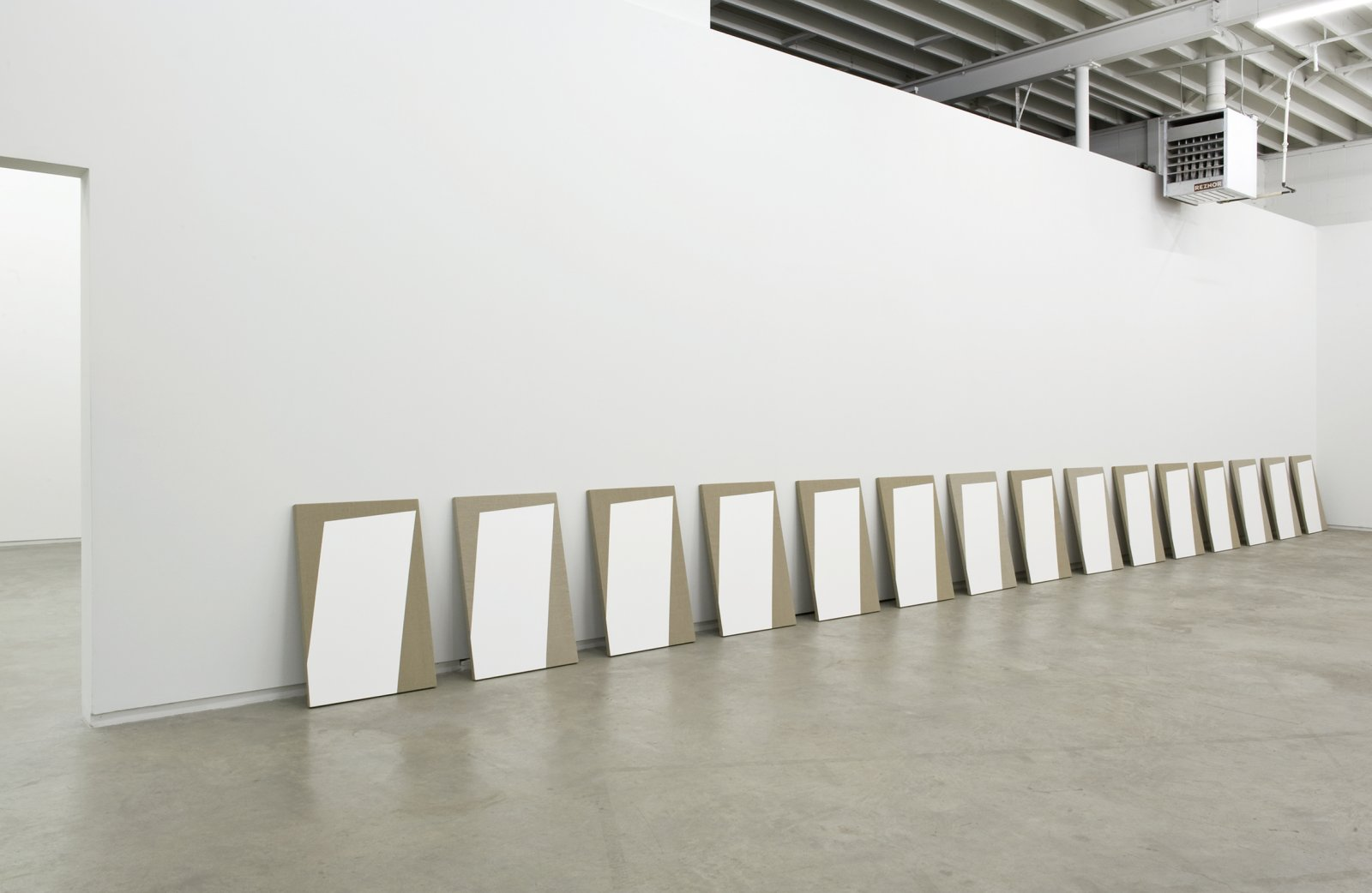 Arabella Campbell, A catalog of its own content, 2011, 15 acrylic on linen panels, 1 framed photocopy of Light in Architecture and Art, p. 174–175, 36 x 472 x 9 in. (91 x 1199 x 24 cm) by