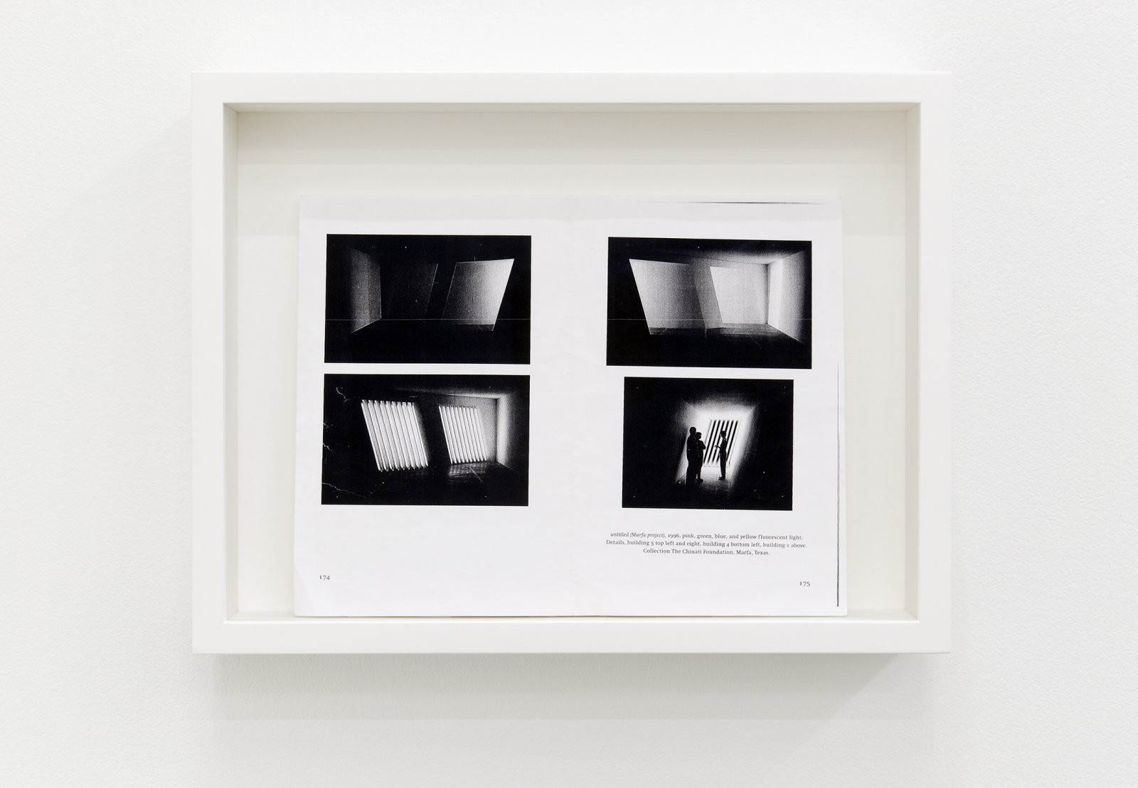 Arabella Campbell, A catalog of its own content (detail), 2011, 15 acrylic on linen panels, 1 framed photocopy of Light in Architecture and Art, p. 174–175, 11 x 15 x 3 in. (29 x 38 x 8 cm) by
