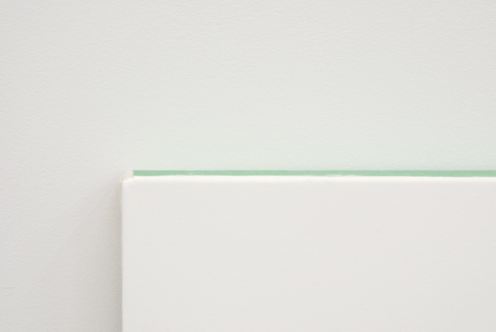 Arabella Campbell, Three Surfaces–One Colour (detail), 2007, acrylic on canvas 10 oz., green painter's tape, 48 x 48 in. (122 x 122 cm) by