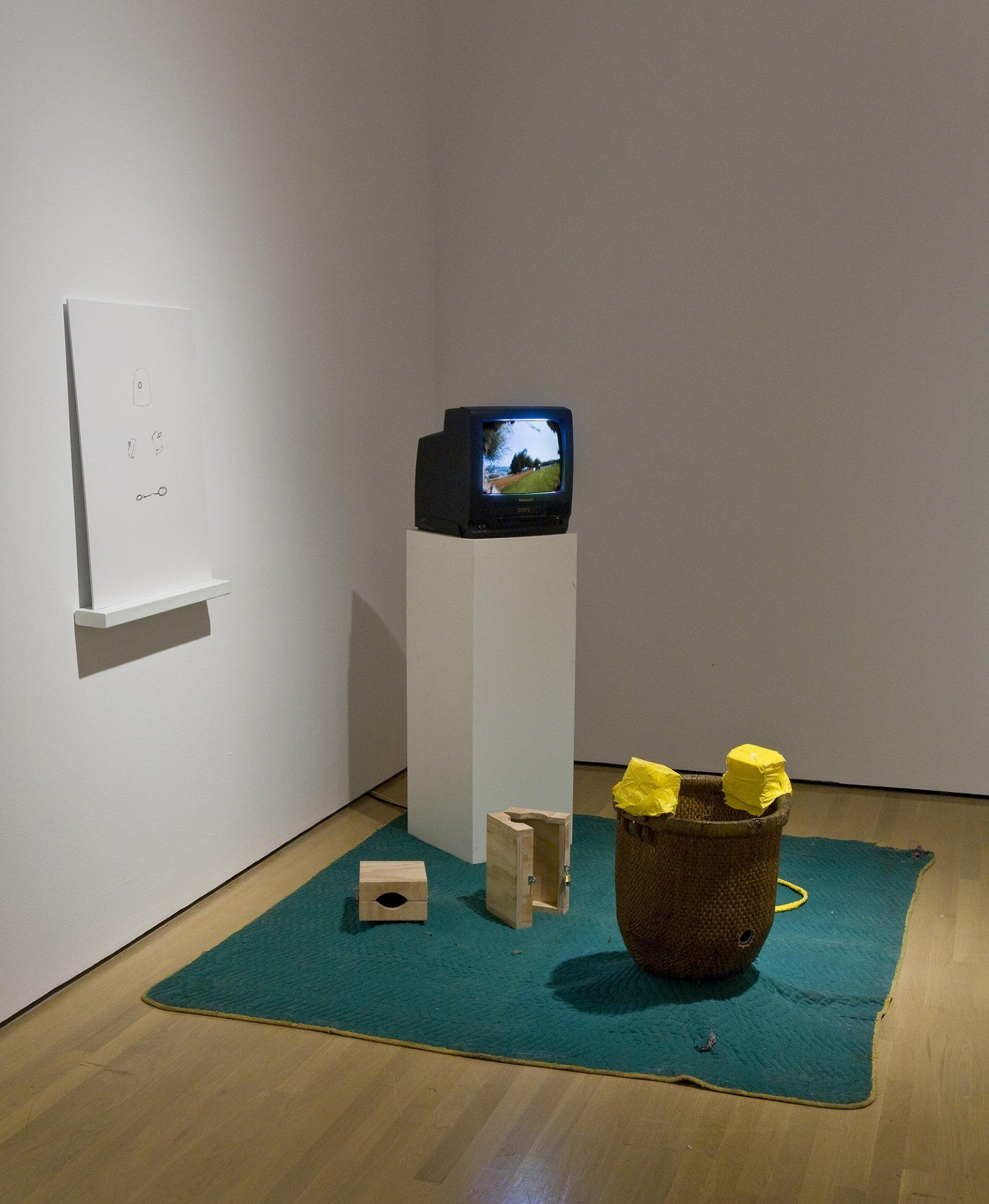 Geoffrey Farmer, Actor / Dancer / Carver, 2003, lightjet print, basket, wood, rope, VHS video loop, video camera, monitor, various materials, dimensions variable by Geoffrey Farmer