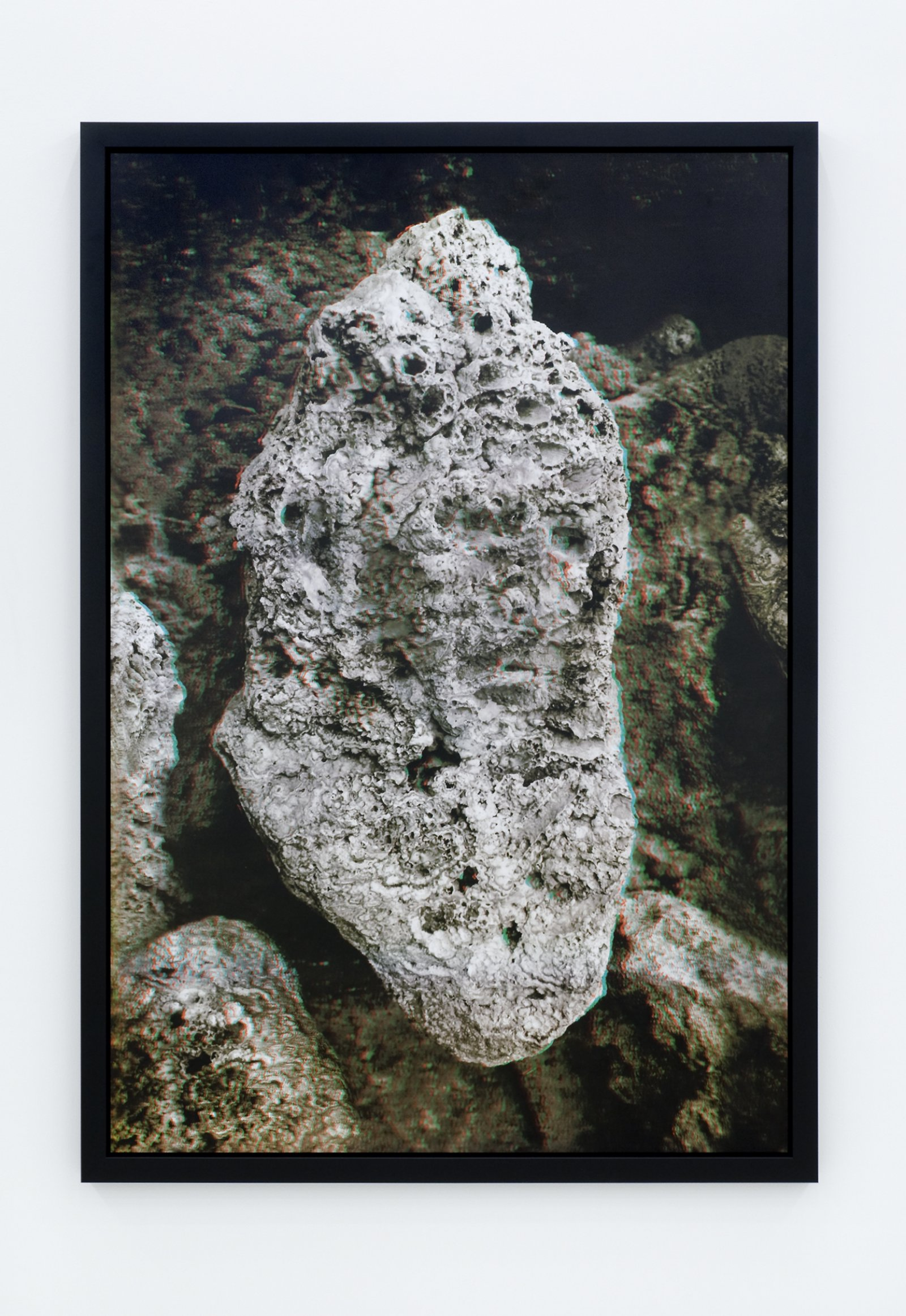 Geoffrey Farmer,Anaglyph poster, I saw Paul Virilio's face in a rock at the Source of Saint Leger, 2009, anaglyph poster, 72 x 50 (184 x 128 cm)