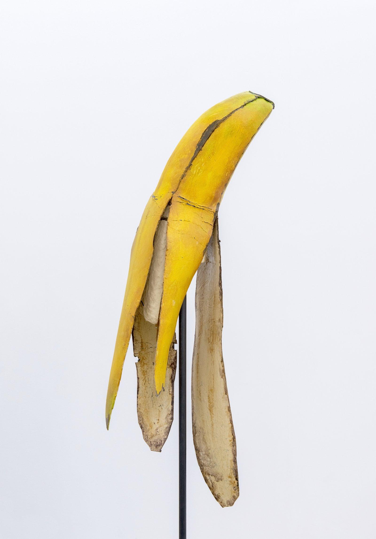 Geoffrey Farmer, Banana and Grass (detail), 2014, paint, foam, grass, metal stand, 2 wooden wall façades, window, sandbags, banana: 67 x 12 x 12 in. (170 x 31 x 31 cm), grass: 76 x 21 x 21 in. (193 x 54 x 54 cm) by Geoffrey Farmer