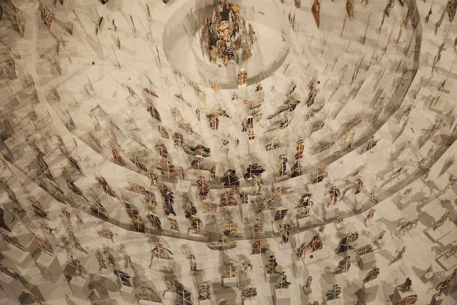 Geoffrey Farmer, Boneyard (detail), 2013, paper cutouts, wood, glue, dimensions variable. Installation view, A Brief History of the Future, Musée du Louvre, Paris, 2015 by Geoffrey Farmer