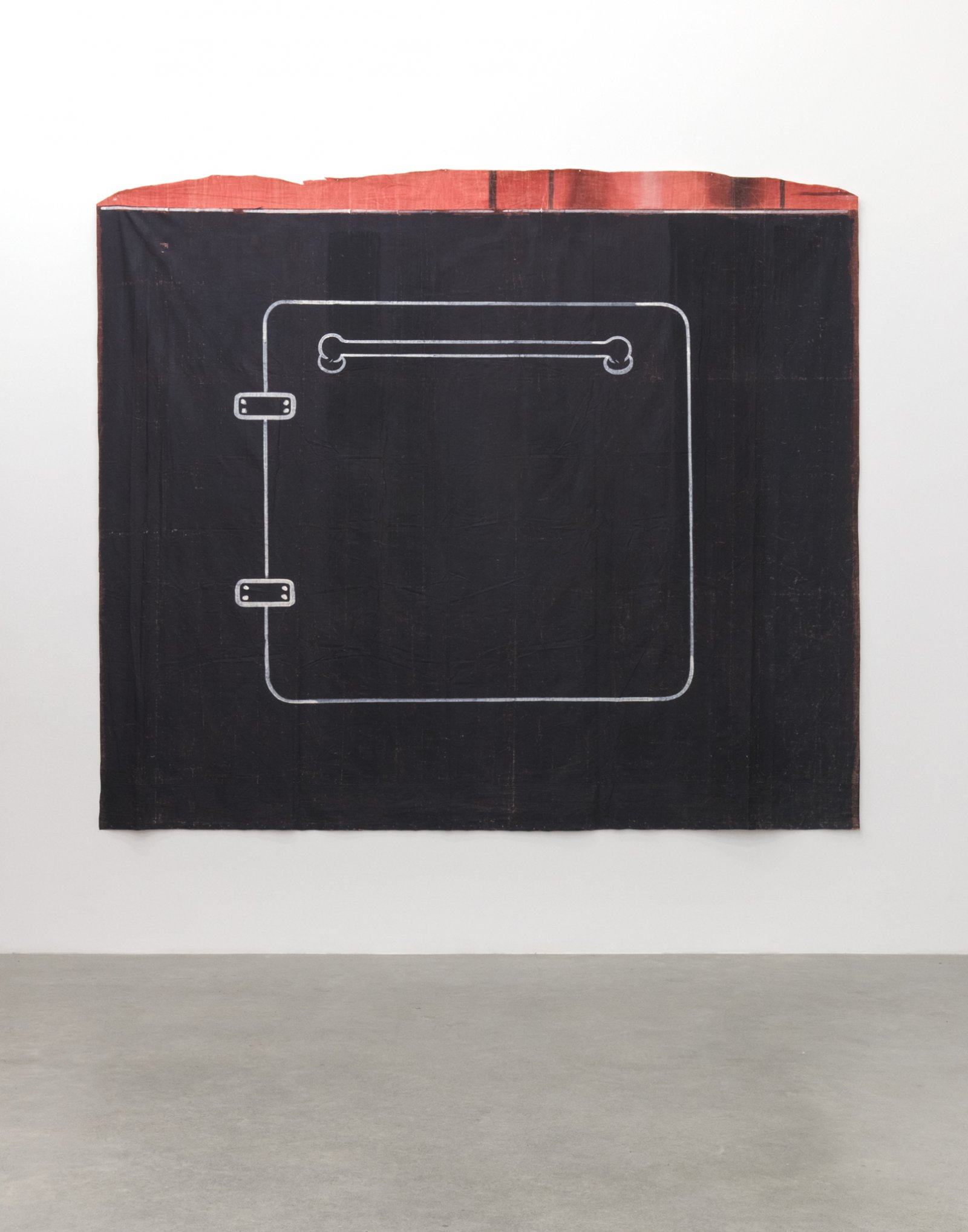 Geoffrey Farmer, COVEN SHOVEN OVEN FOR THE BADLY BEHAVED, 2017, theatre backdrop (1939), 103 x 117 in (261 x 297 cm)