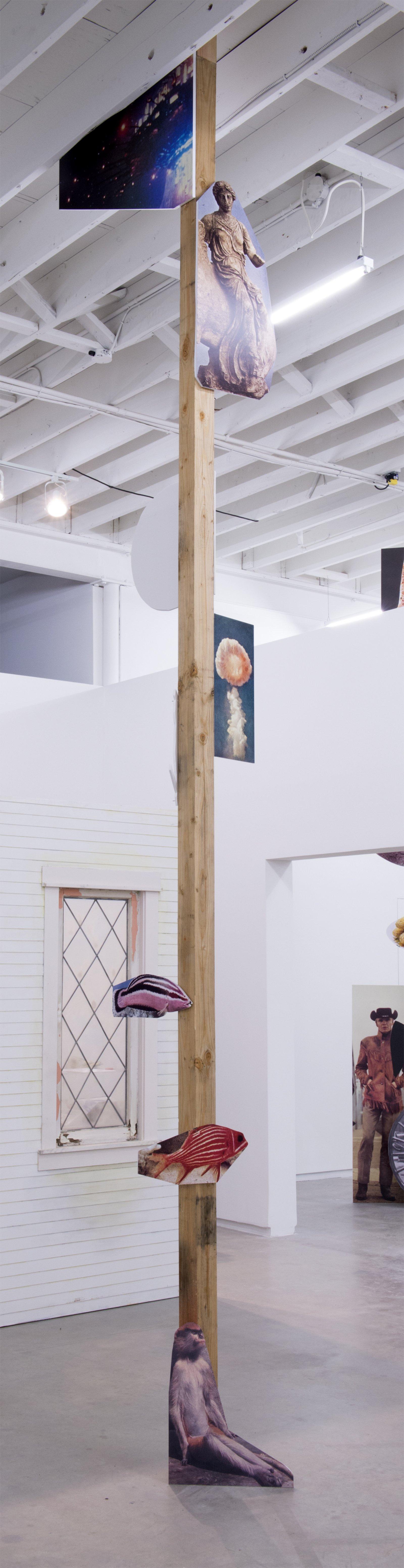 Geoffrey Farmer, Dreams of the sleeping monkey., 2014, douglas fir pole, 10 photographs mounted on foamcore, 200 x 4 x 4 in. (508 x 9 x 9 cm) by Geoffrey Farmer