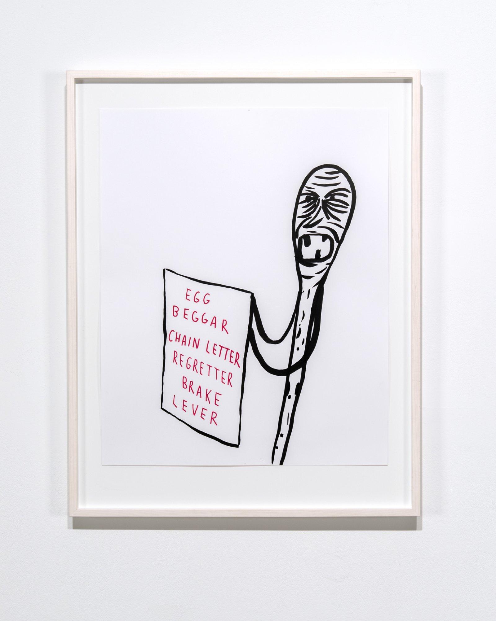 Geoffrey Farmer, EGG, BEGGAR, CHAIN LETTER, REGRETTER, BRAKE, LEVER, ink on paper, 36 x 28 in. (90 x 70 cm) by Geoffrey Farmer