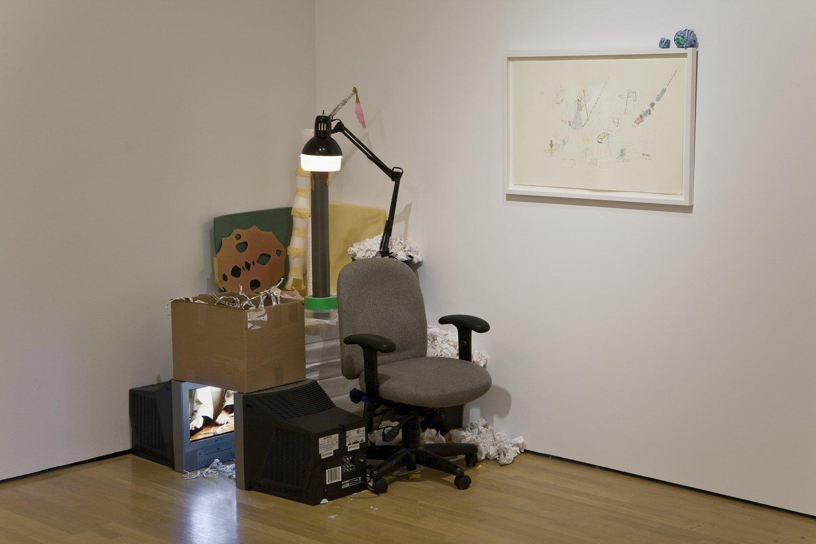 Geoffrey Farmer,Entrepreneur Alone Returning Back to Sculptural Form, 2002, mixed media, dimensions variable. Installation view, Musée d'art contemporain de Montréal, 2008