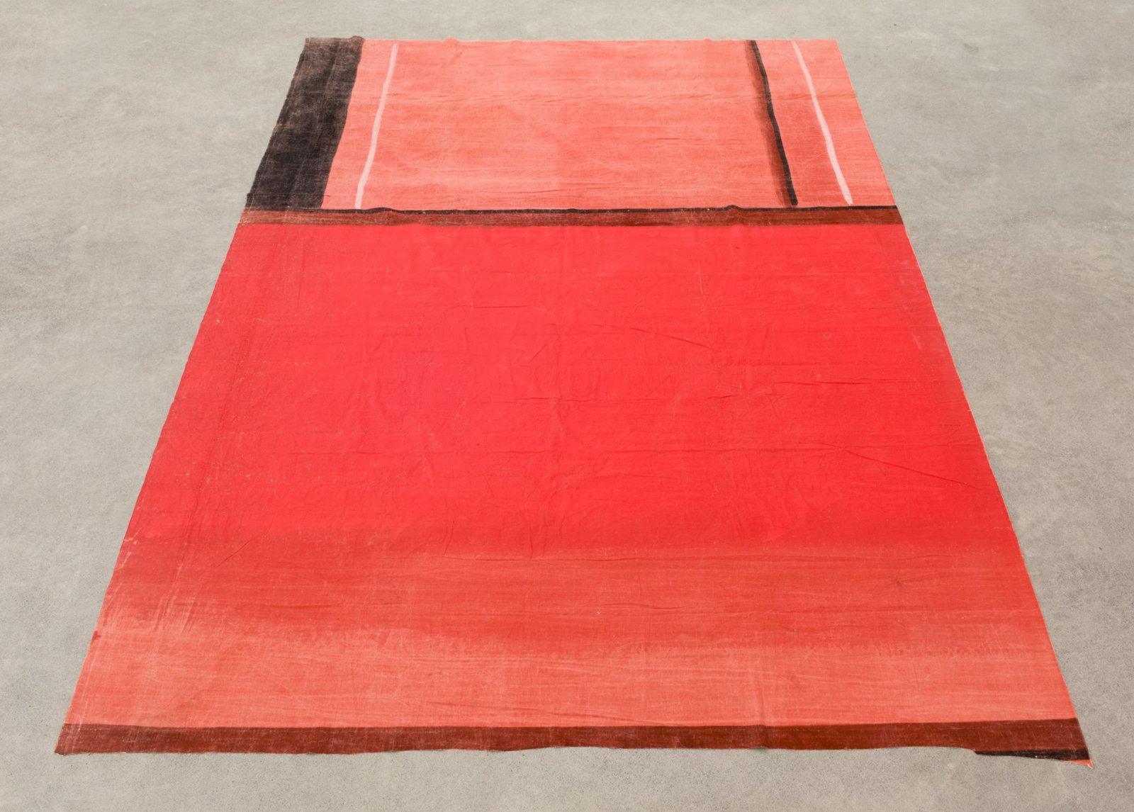 Geoffrey Farmer, FLOOR PIECE: KITCHEN WALL AS SEEN BY A FLY, 2017, theatre backdrop (1939), 166 x 103 in. (421 x 262 cm) by Geoffrey Farmer