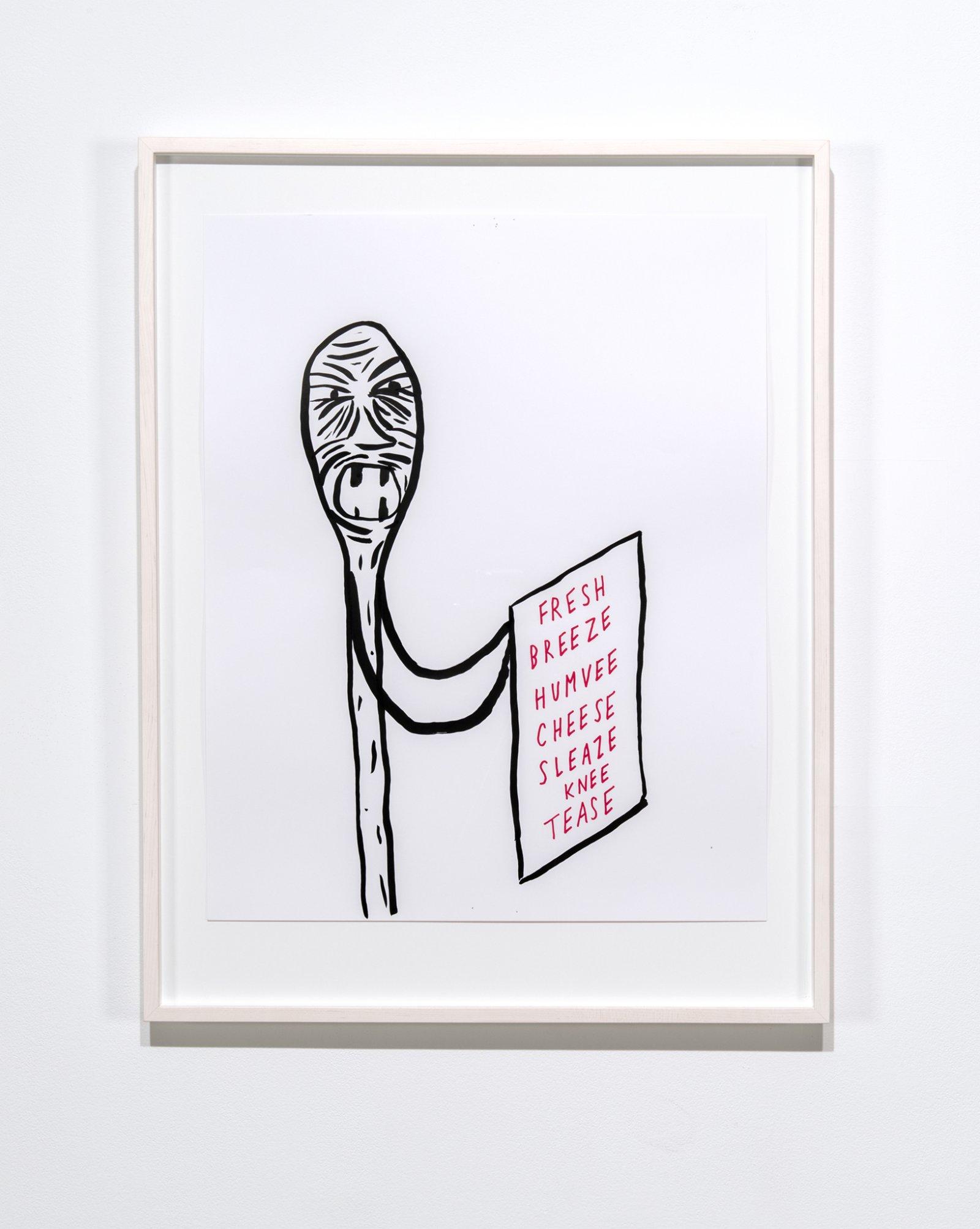 Geoffrey Farmer, FRESH, BREEZE, HUMVEE, CHEESE, SLEAZE, KNEE, TEASE, 2017, ink on paper, 36 x 28 in. (90 x 70 cm) by Geoffrey Farmer