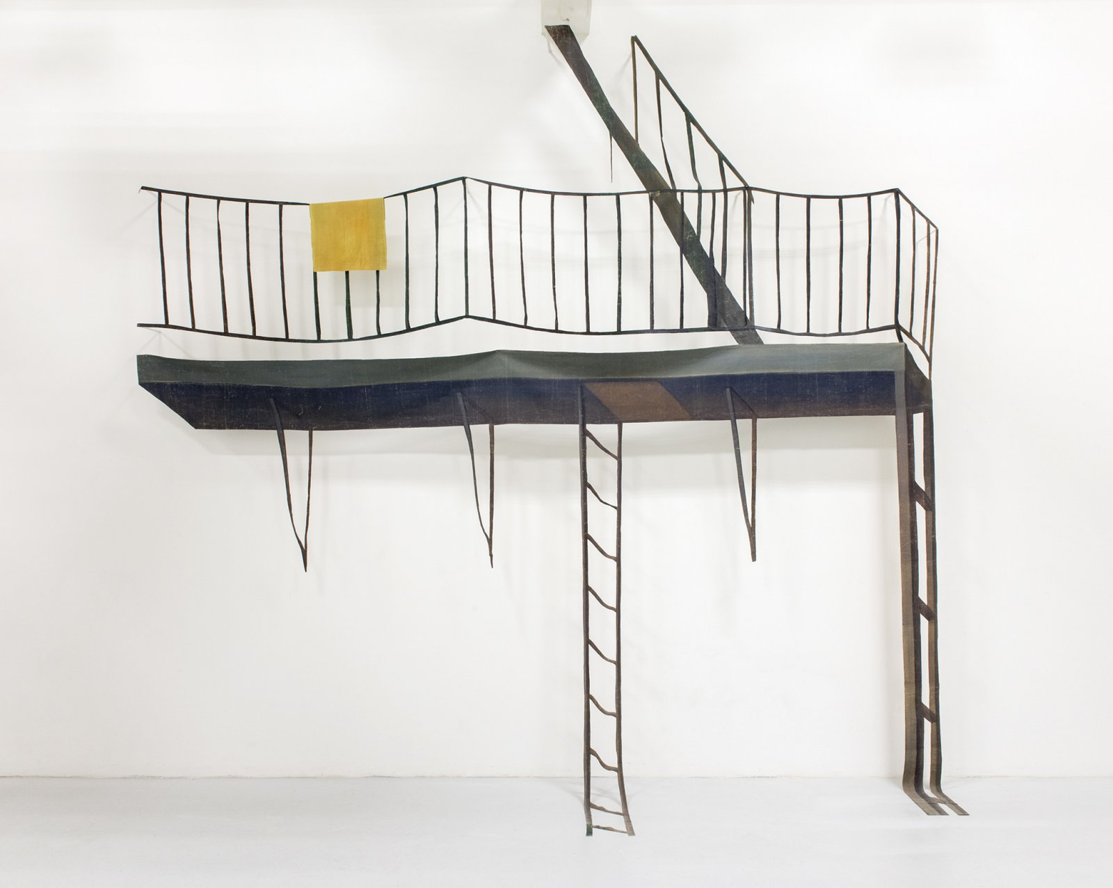 Geoffrey Farmer, Fire Escape with Window, 2016, theatre backdrop, wood, 145 x 144 in. (368 x 365 cm)