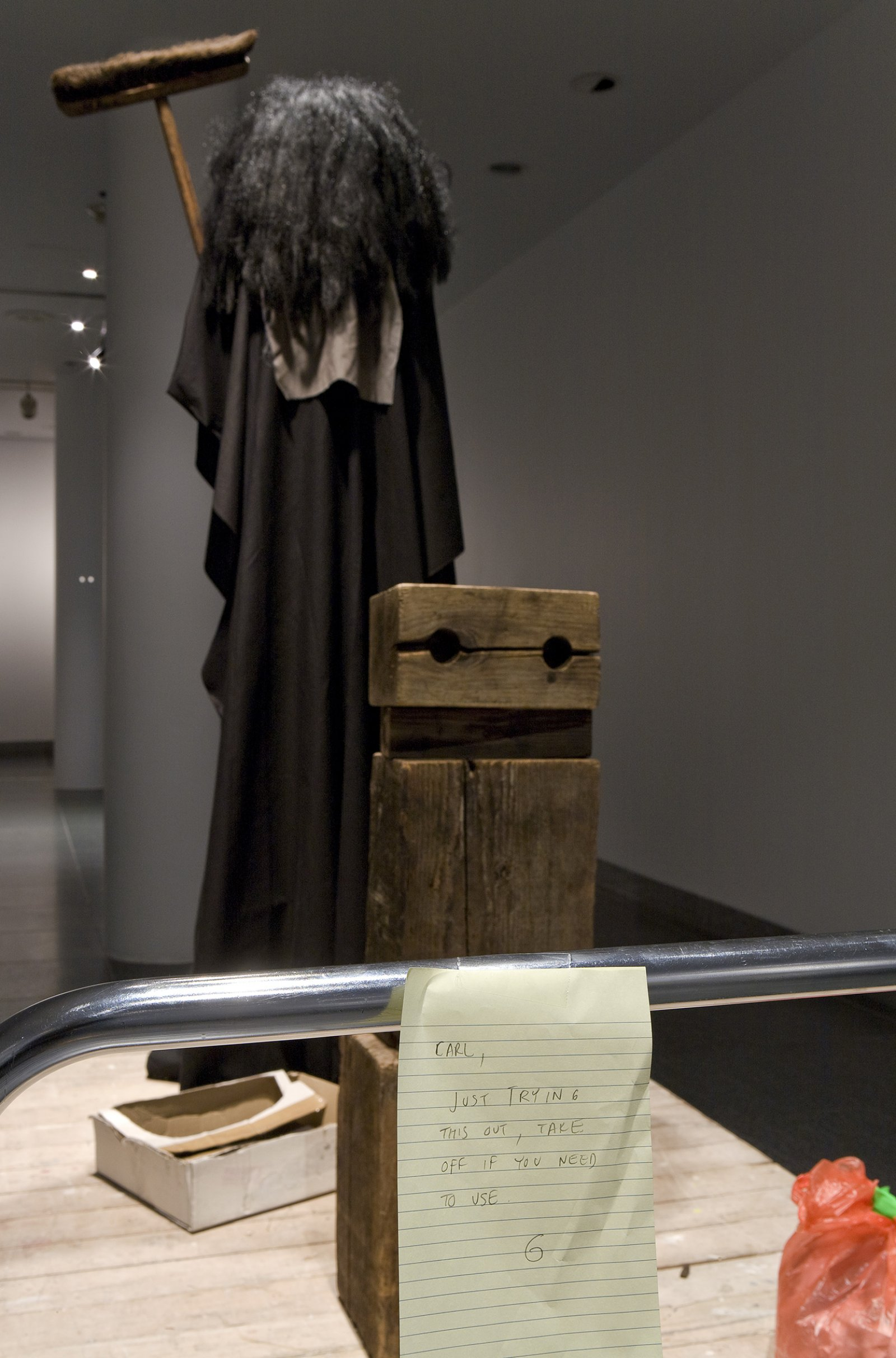 Geoffrey Farmer, I am by nature one and also many, dividing the single me into many, and even opposing them as great and small, light and dark, and in ten thousand other ways (detail), 2006–2008, wood, fabric, broom, wig, dimensions variable by Geoffrey Farmer