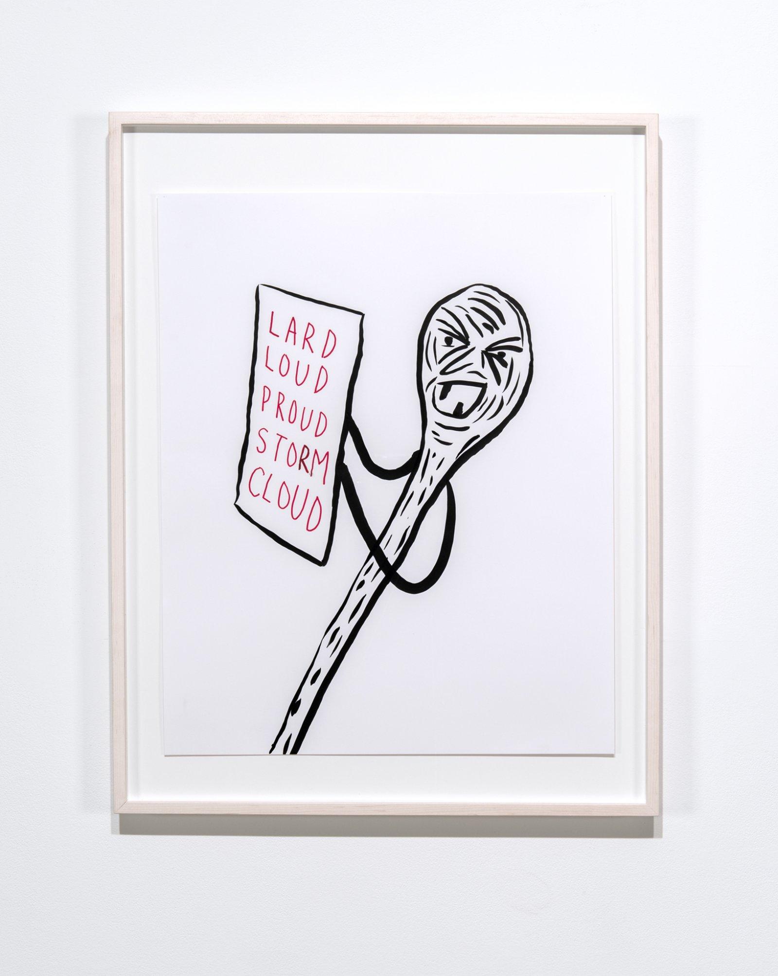 Geoffrey Farmer, LARD, LOUD, PROUD, STORM, CLOUD, 2017, ink on paper, 36 x 28 in. (90 x 70 cm) by Geoffrey Farmer