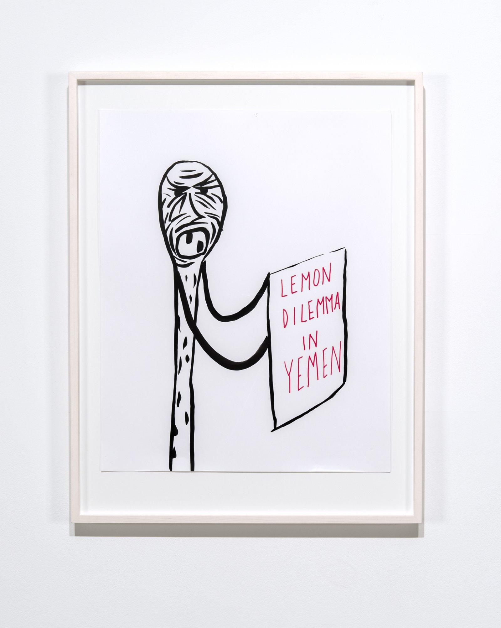 Geoffrey Farmer, LEMON, DILEMMA, IN, YEMEN, 2017, ink on paper, 36 x 28 in. (90 x 70 cm)  by Geoffrey Farmer