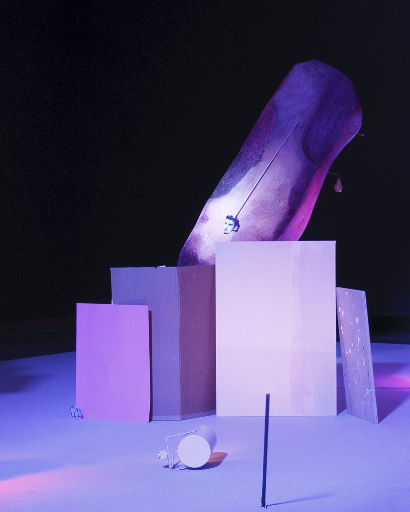 Geoffrey Farmer,Let's Make The Water Turn Black, 2011, a theatrical presentation of sculptural objects on a stage, with animatronics, audio and lighting directed by various computer programs, 289 x 360 x 90 in. (734 x 914 x 229 cm).Installation view, REDCAT, Los Angeles, 2011