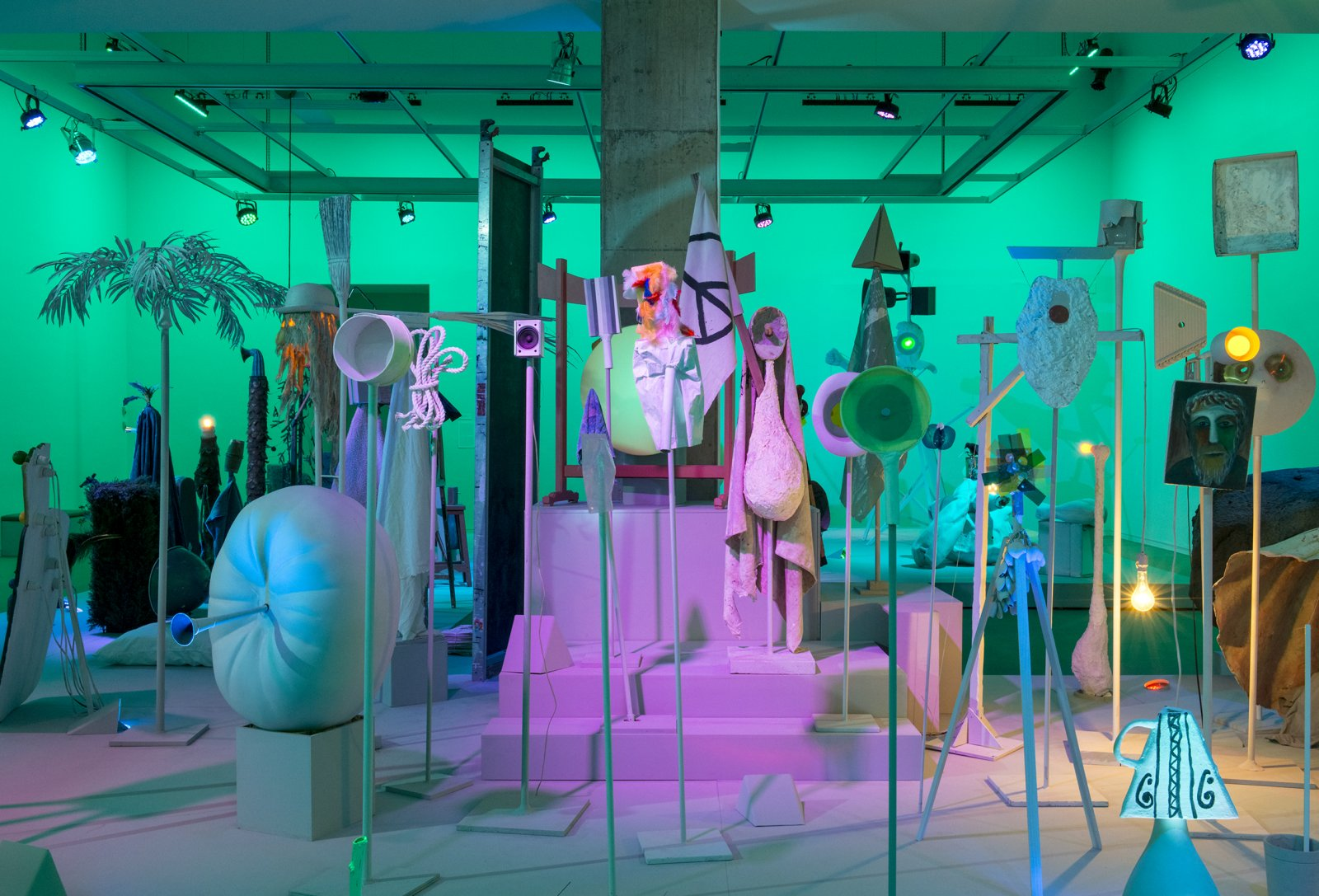 Geoffrey Farmer,Let's Make The Water Turn Black, 2013, a theatrical presentation of sculptural objects on a stage, with animatronics, audio and lighting directed by various computer programs, 289 x 360 x 90 in. (734 x 914 x 229 cm). Installation view, How Do I Fit This Ghost in My Mouth?, Vancouver Art Gallery, 2015