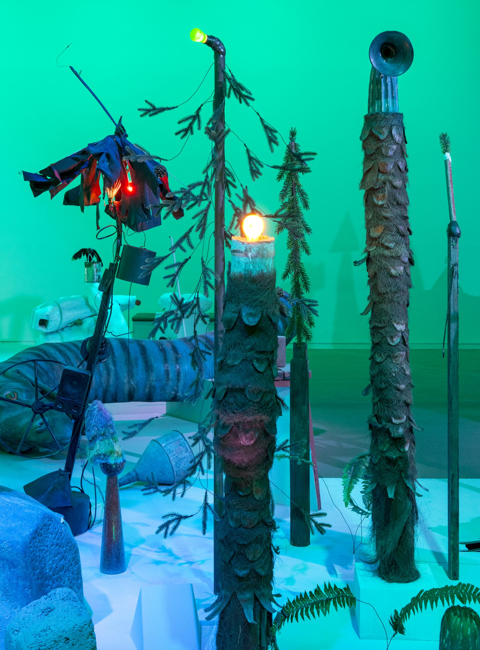 Geoffrey Farmer,Let's Make The Water Turn Black, 2013, a theatrical presentation of sculptural objects on a stage, with animatronics, audio and lighting directed by various computer programs, 289 x 360 x 90 in. (734 x 914 x 229 cm). Installation view,How Do I Fit This Ghost in My Mouth?, Vancouver Art Gallery, 2015