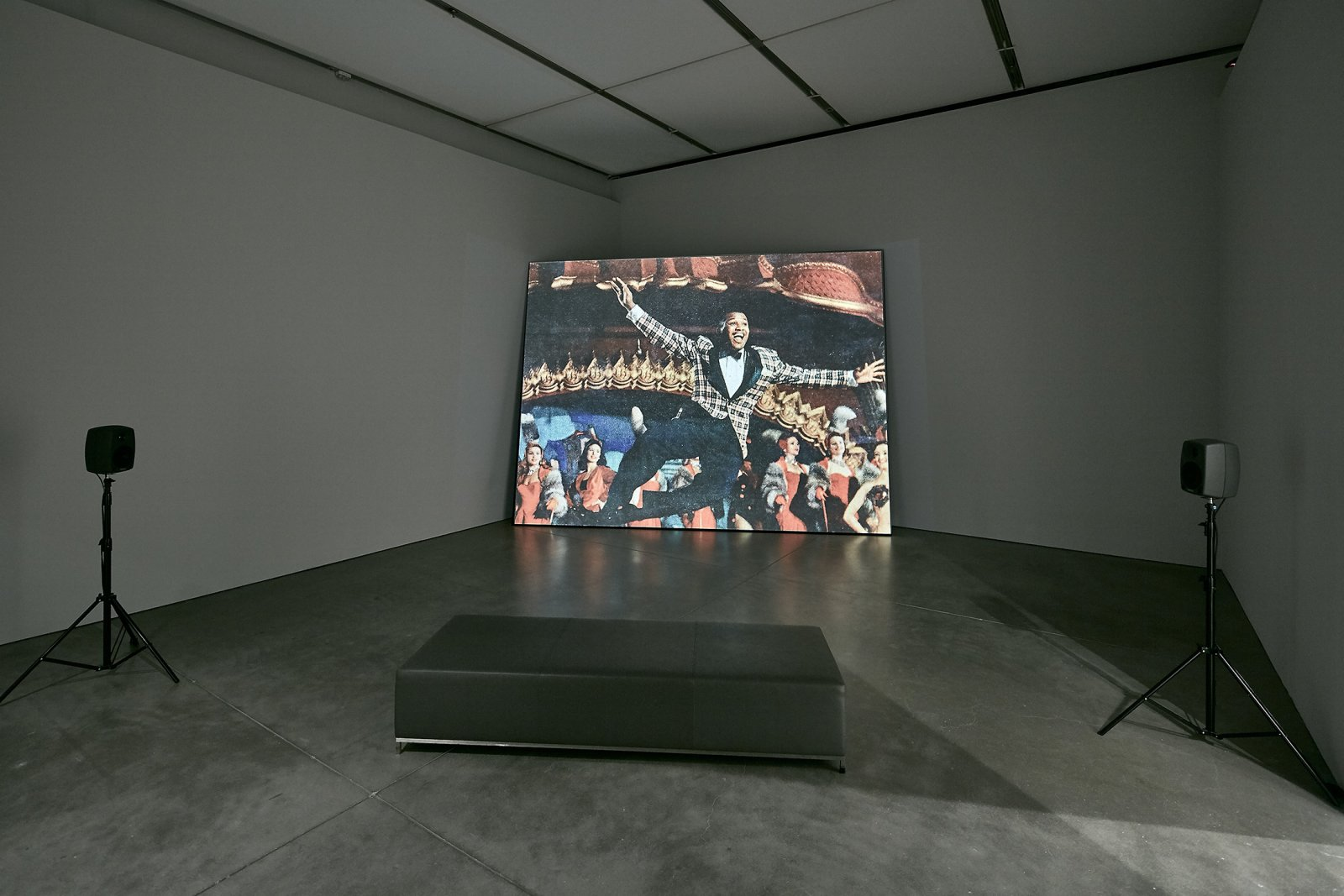 ​Geoffrey Farmer, Look in my face; my name is Might-have-been; I am also called No-more, Too-late, Farewell, 2010–2014, computer-generated algorithmic montage sequence, dimensions variable.​ Installation view, Institute of Contemporary Art, Boston, 2016 by Geoffrey Farmer