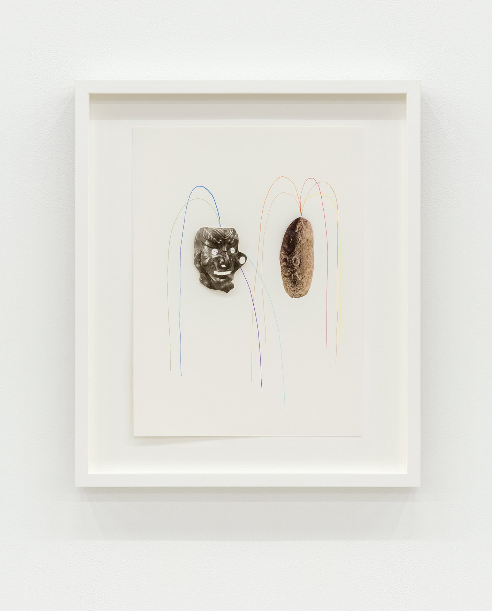 Geoffrey Farmer,Looking at a photograph of myself and realizing I had a potato instead of a head (Fountain)(detail), 2014, vitrine with cut-outs mounted on 5 vertical clay slabs, 4 wooden wall brick façades, paint, sandbags, framed cut-outs and ink mounted on paper, dimensions variable