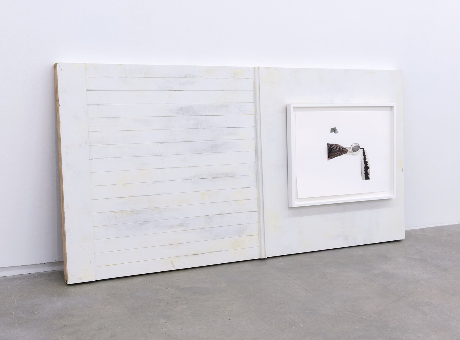 Geoffrey Farmer, Mother and Child, 2014, framed cut-outs mounted on paper, wooden wall façade, paint, frame: 26 x 34 in. (87 x 67 cm), wall façade: 48 x 96 x 11 in. (122 x 244 x 28 cm)