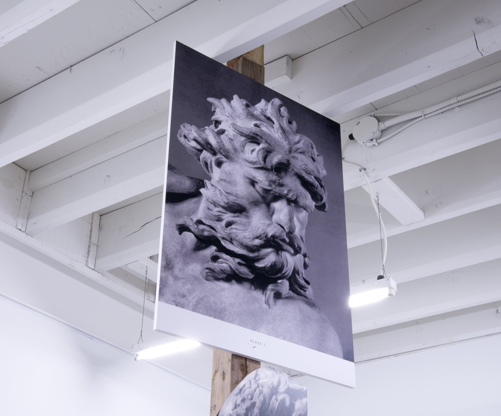 Geoffrey Farmer, Over, under, floating, rushing, with the delicate colour of violet. From curly hair grapes grow. This green belongs to the Arctic. (detail), 2014, douglas fir pole, 6 photographs mounted on foamcore, 200 x 4 x 4 in. (508 x 9 x 9 cm) by Geoffrey Farmer