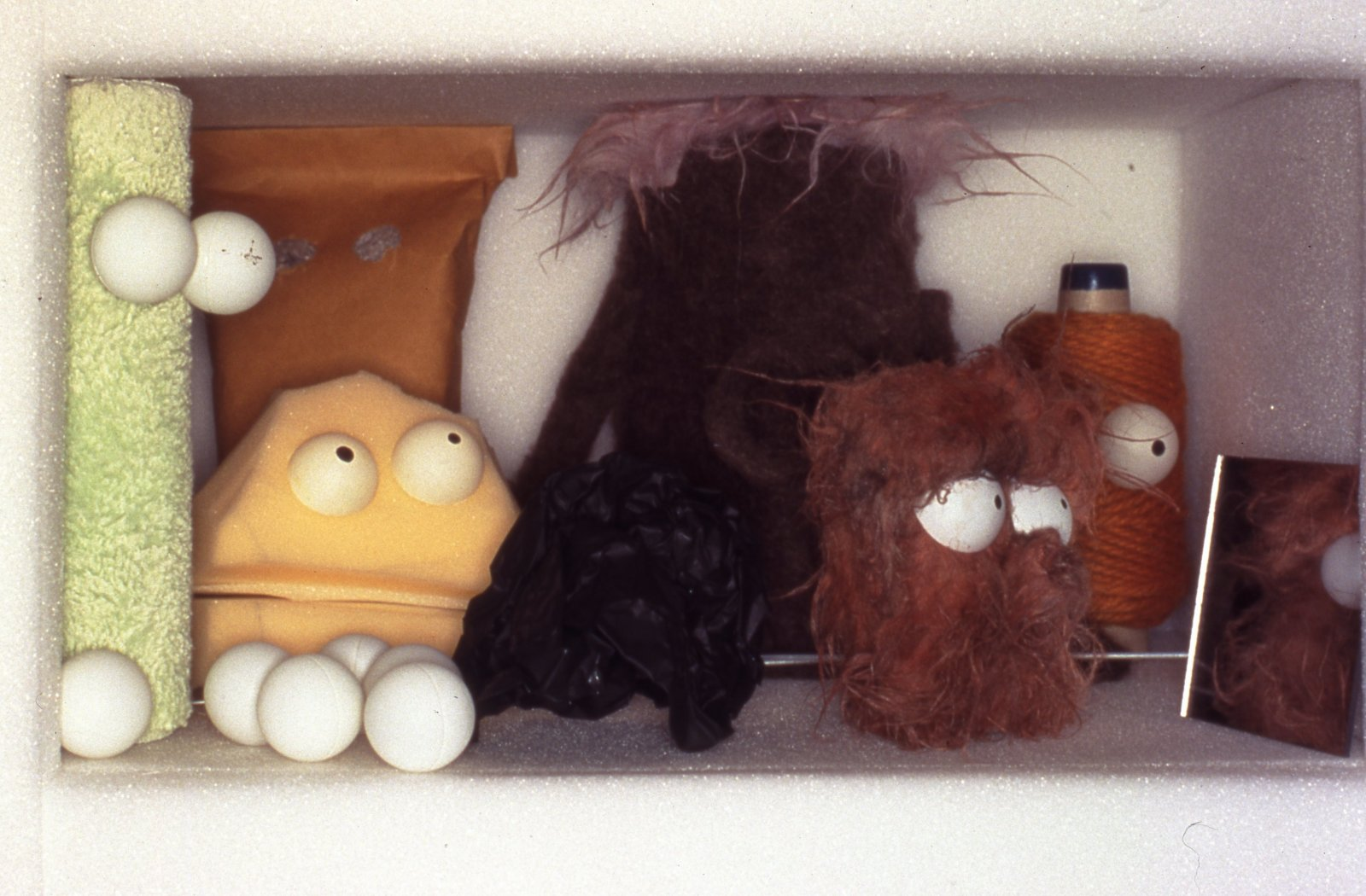 Geoffrey Farmer,Puppet Kit (Personality Workshop) (detail),2001, crate, various media and video, dimensions variable