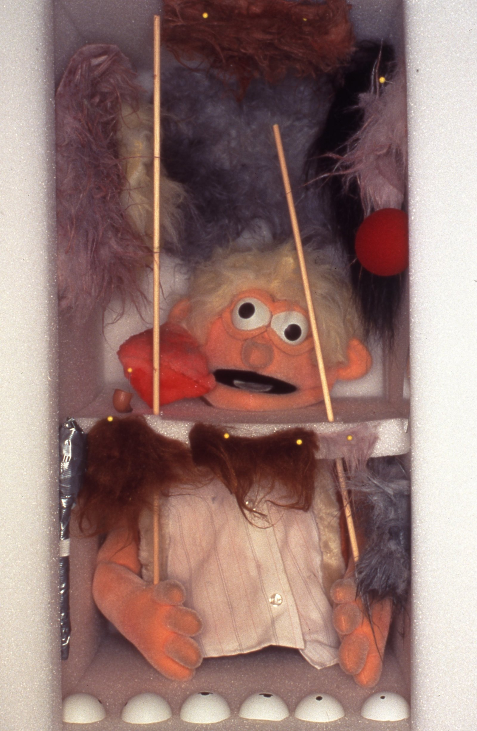 Geoffrey Farmer,Puppet Kit (Personality Workshop) (detail), 2001, crate, various media and video, dimensions variable