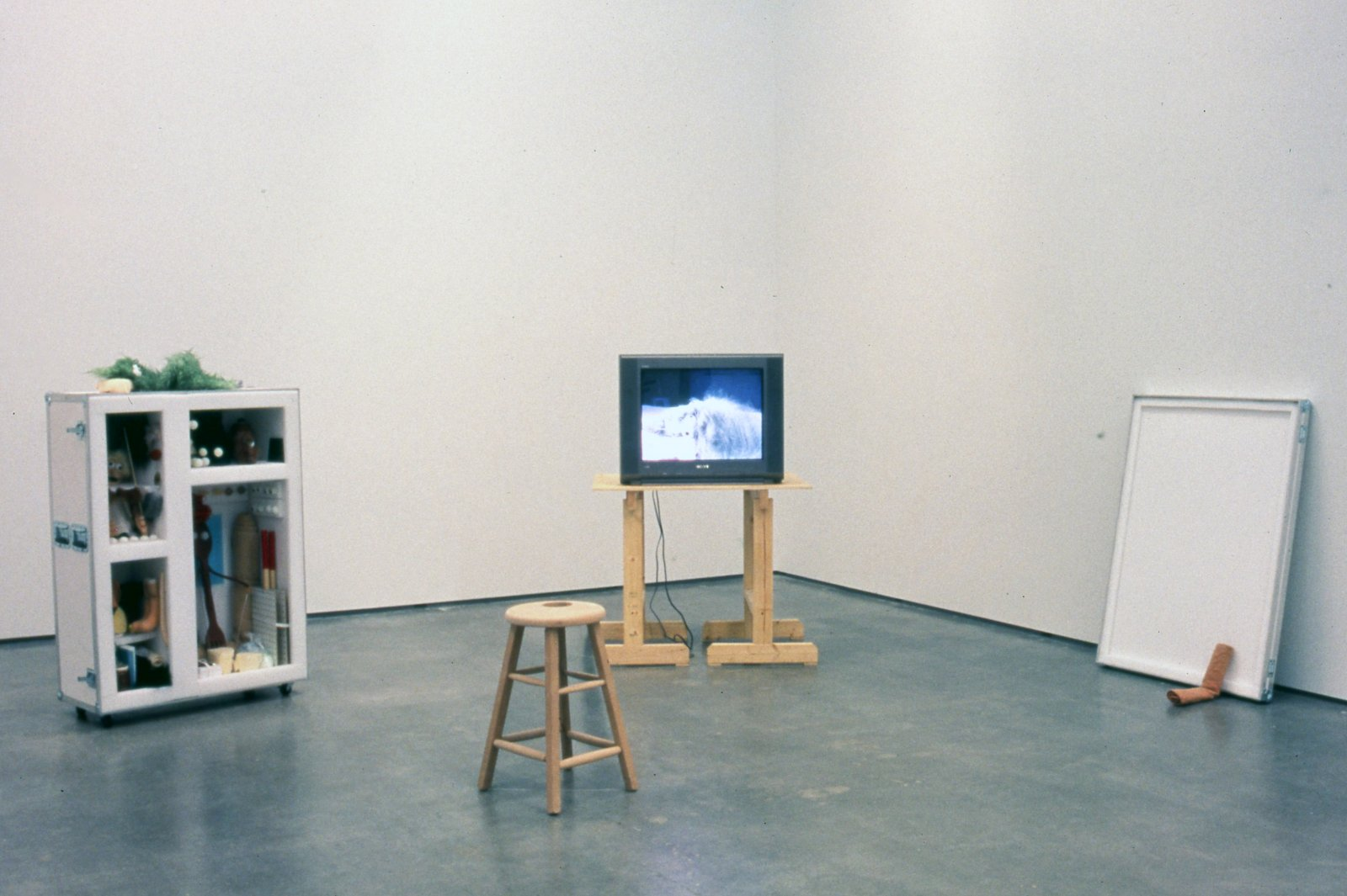 Geoffrey Farmer,Puppet Kit (Personality Workshop), 2001, crate, various media and video, dimensions variable
