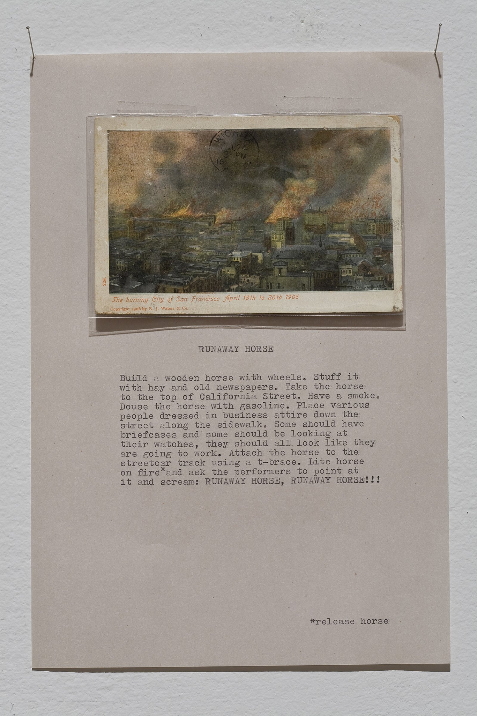 Geoffrey Farmer,Runaway Horse, 1991–1992, postcard and written notes on paper, 20 x 12 in. (51 x 30 cm)