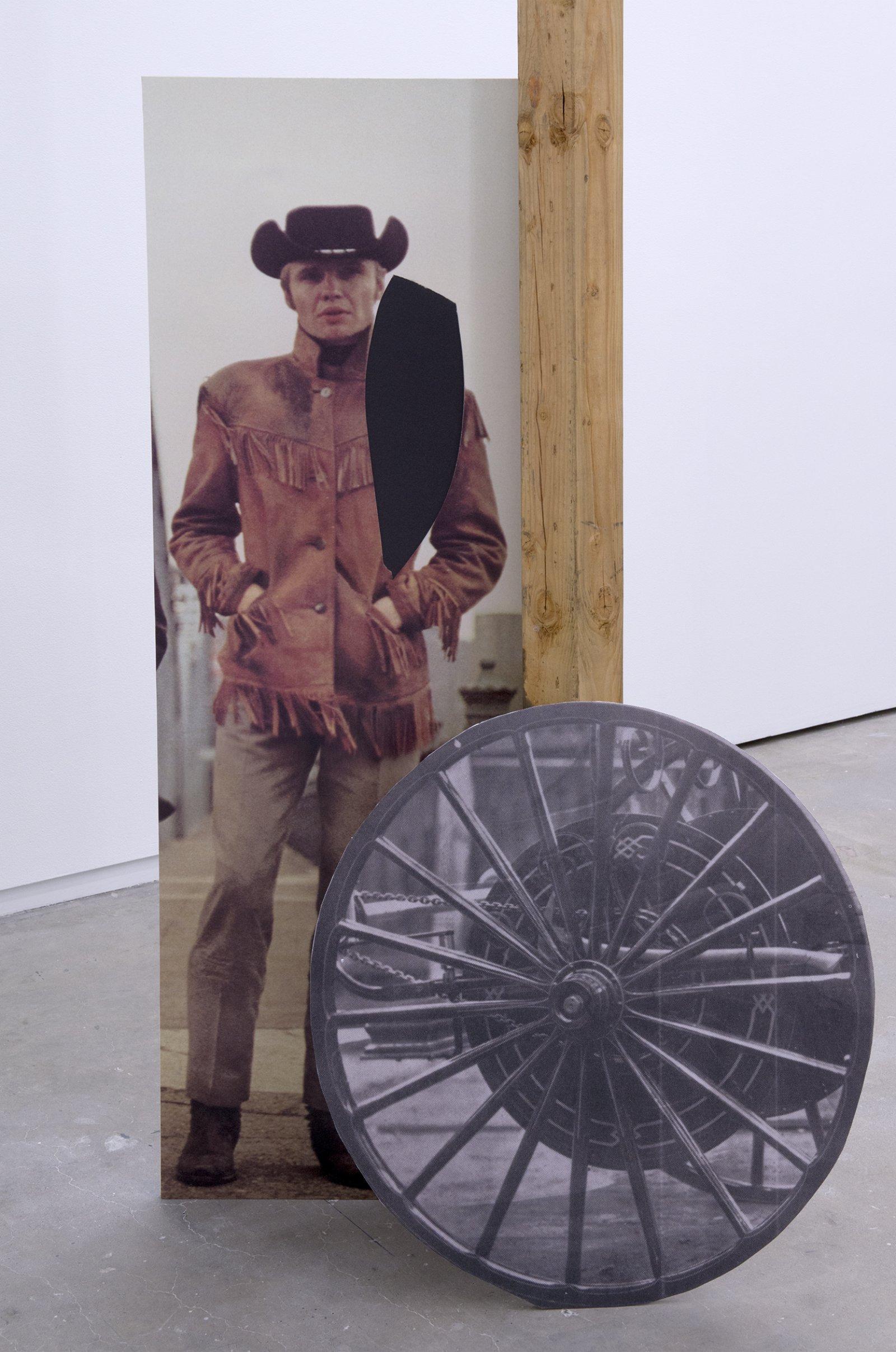 Geoffrey Farmer,Some kinds of sacrifice (detail), 2014, douglas fir pole, 6 photographs mounted on foamcore, 200 x 4 x 4 in. (508 x9 x 9 cm)