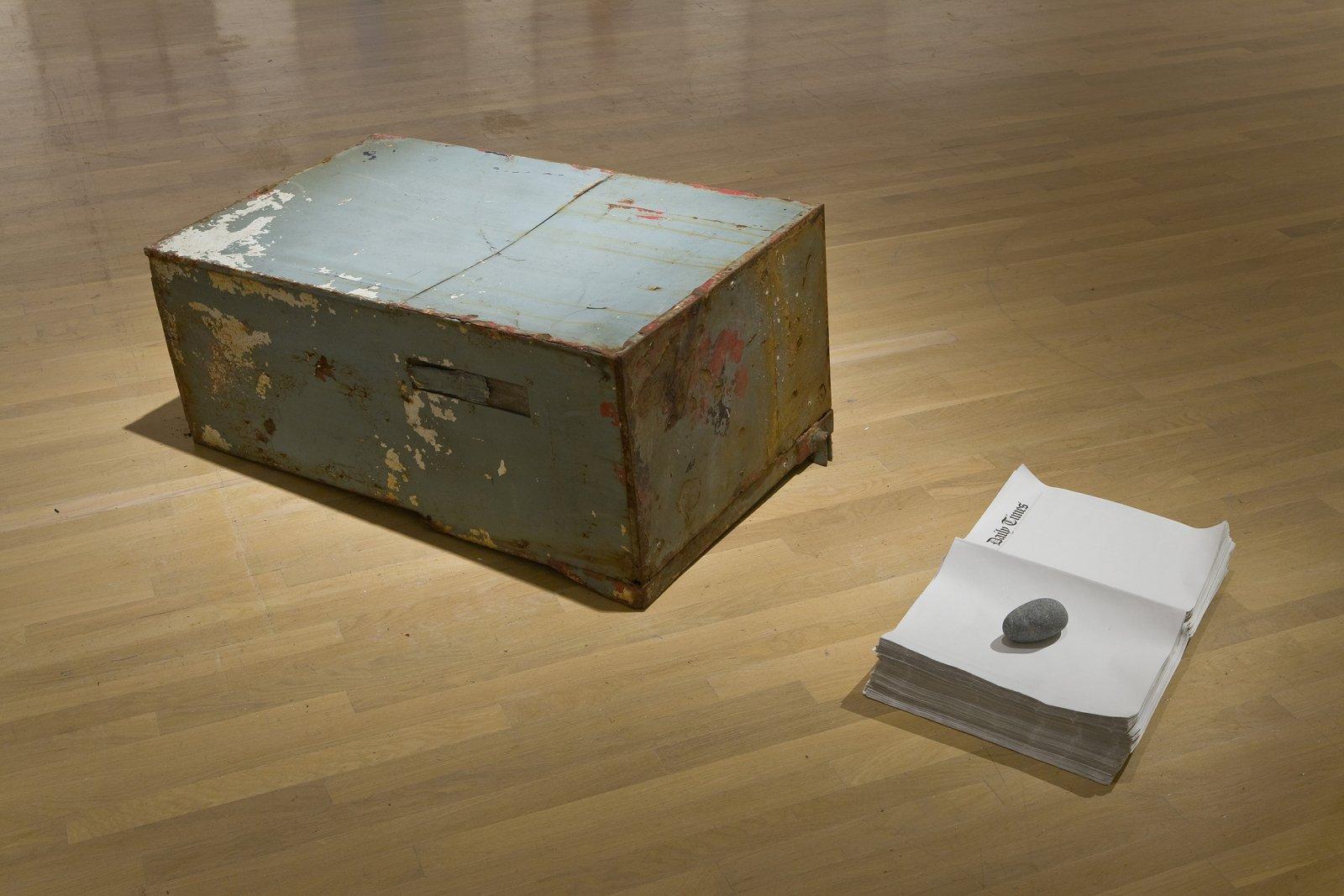 Geoffrey Farmer,Streak of Light, 2001–2007, prop newspaper box, newspapers with paperweight, 18 x 24 x 62 in. (46 x 61 x 157 cm)