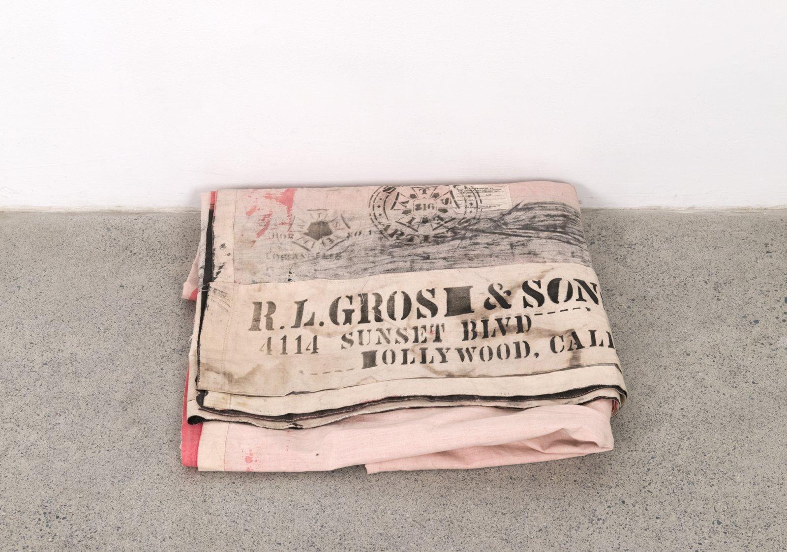 Geoffrey Farmer, THE BIG KITCHEN OF MY CHILDHOOD, 2017, ink on paper, theatre backdrop (1939), folded backdrop: 3 x 18 x 18 in. (8 x 46 x 46 cm) by Geoffrey Farmer