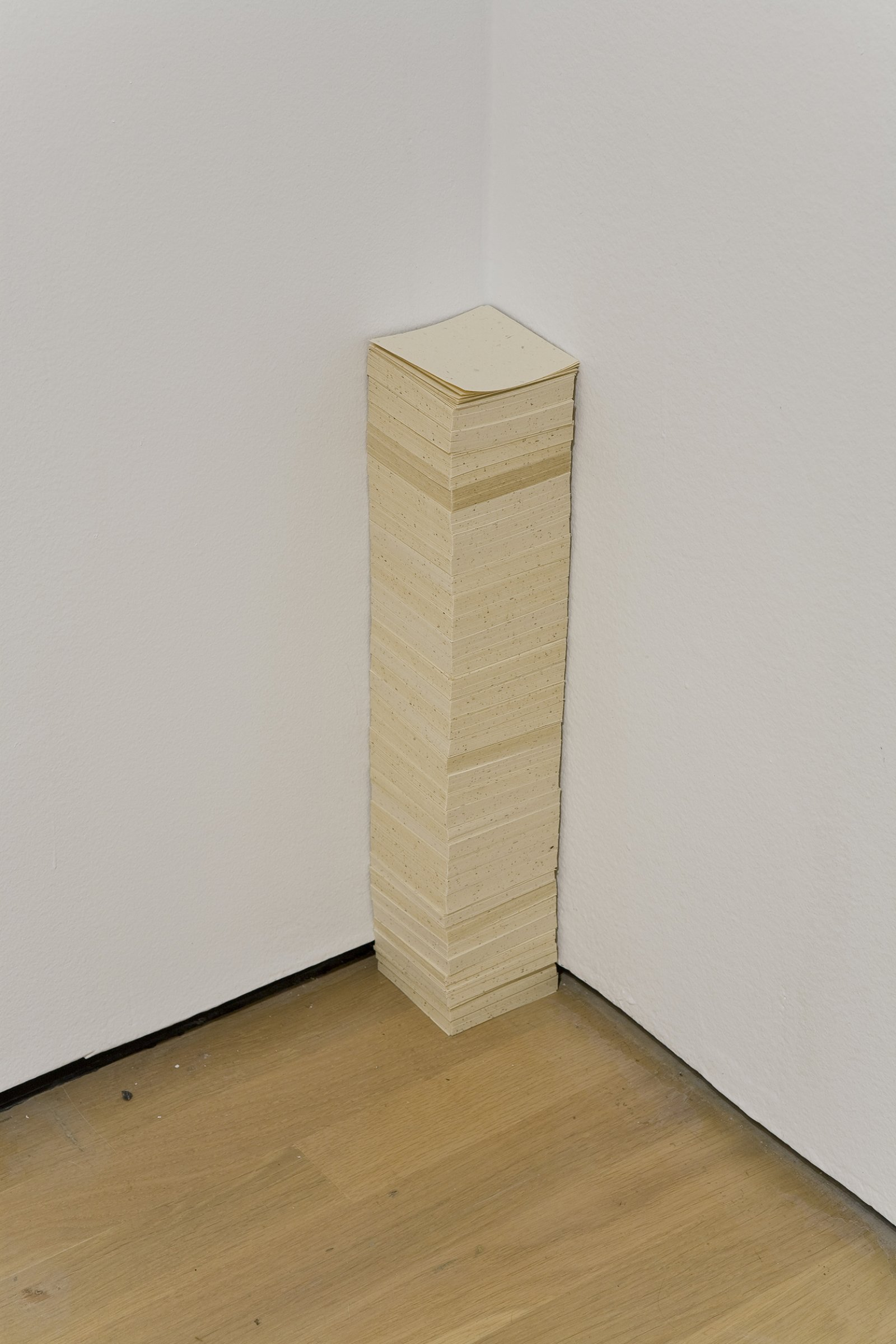 Geoffrey Farmer, The Idea and the Absence of the Idea (Not the Work, the Worker), 2008, paper pile produced as post-it notes from Musée d'Art contemporain de Montréal's ‎hardwood floor at Papeterie Saint-Armand