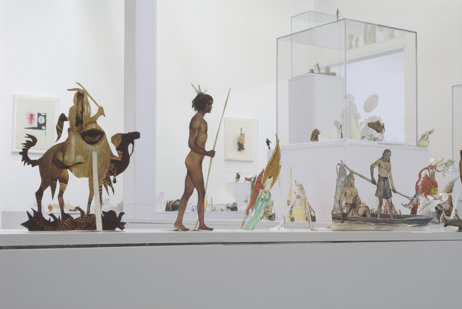 Geoffrey Farmer, The Last Two Million Years, 2007, foamcore plinths, perspex frames and cutouts from selected pages of the history book The Last Two Million Years, dimensions variable. Installation view, The Drawing Room, London, UK, 2007