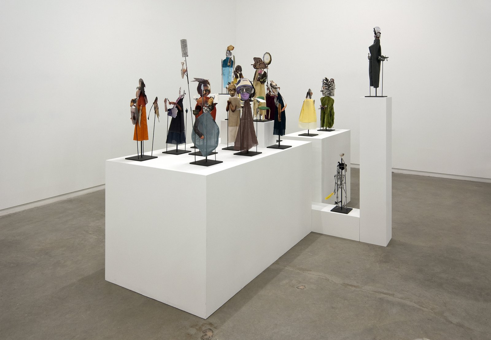 Geoffrey Farmer,The Surgeon and the Photographer, 2009, paper, textile, wood, metal, 365 figures, each figure approximately: 18 x 5 x 5 in. (45 x 13 x 13 cm)