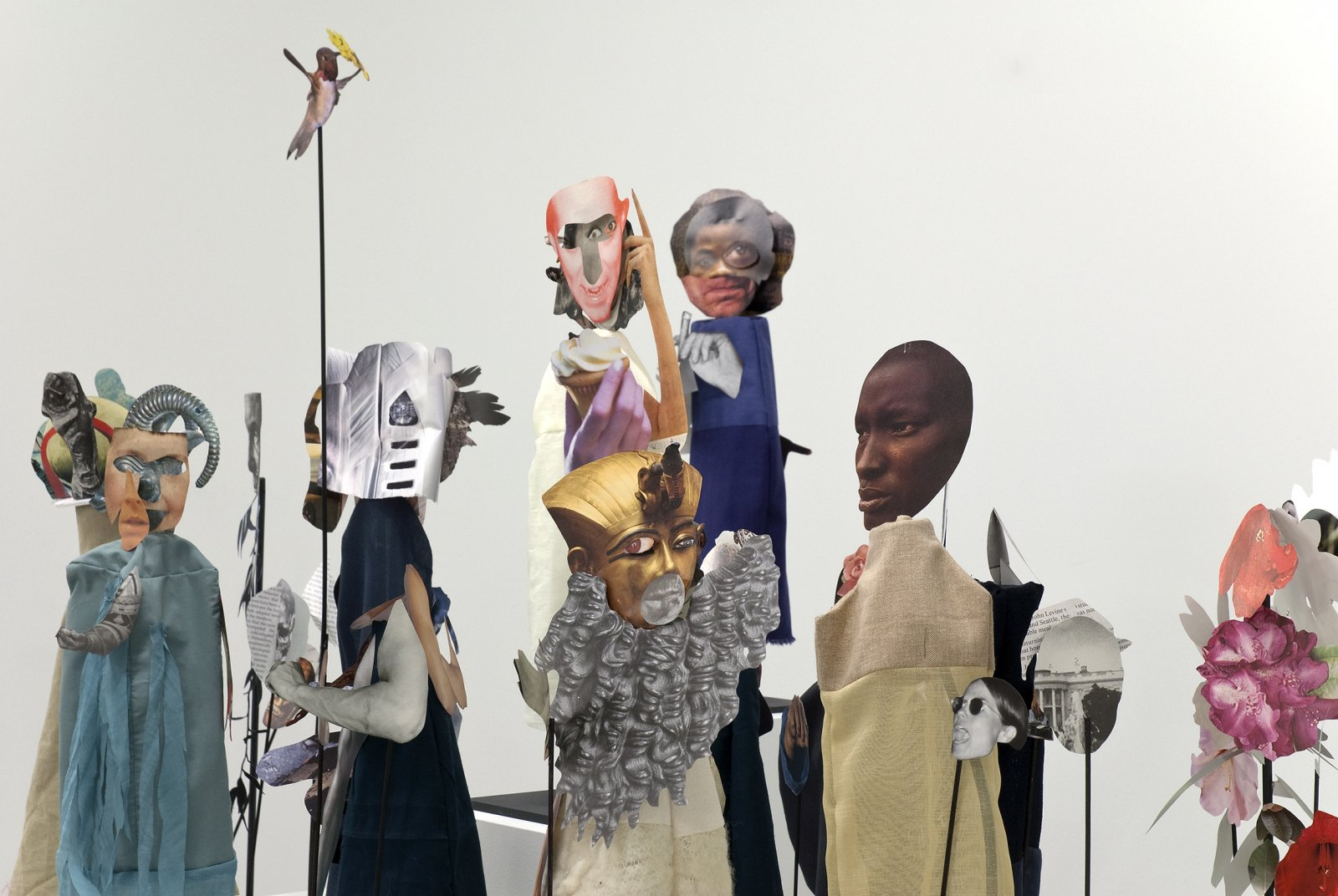 Geoffrey Farmer, The Surgeon and the Photographer, 2009, paper, textile, wood, metal, 365 figures, each figure approximately 18 x 5 x 5 in. (45 x 13 x 13 cm). Installation view, Catriona Jeffries, 2010 by Geoffrey Farmer