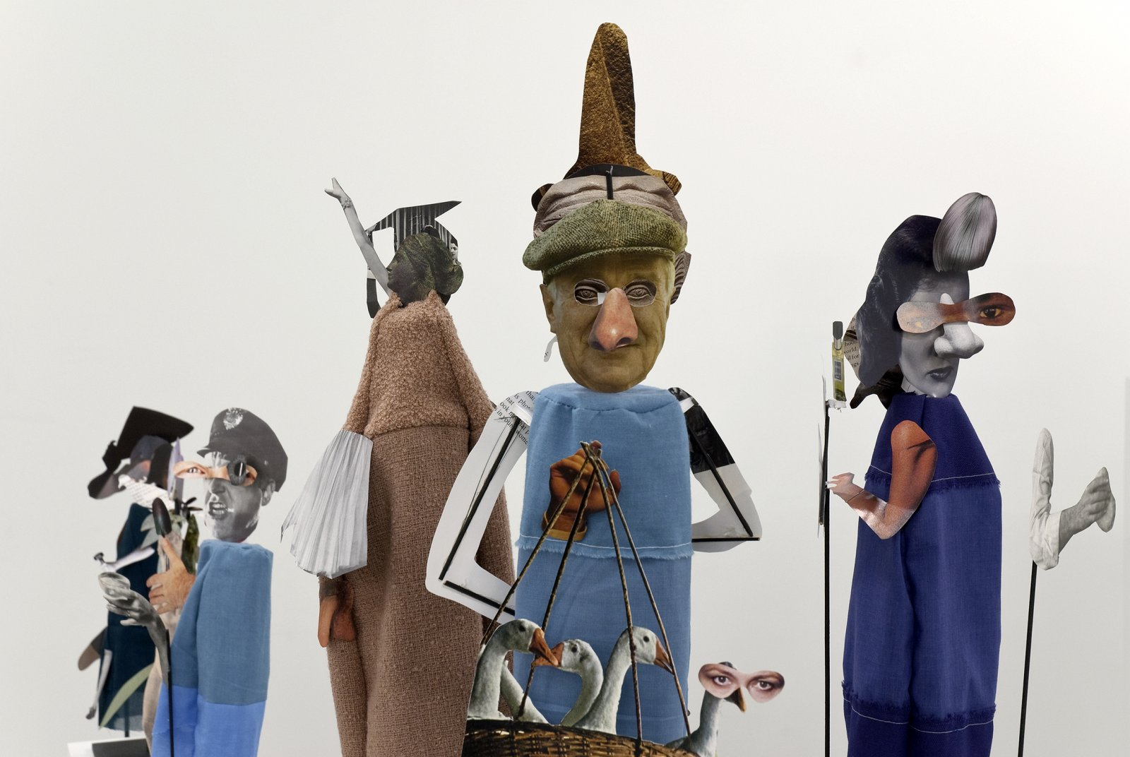 Geoffrey Farmer,The Surgeon and the Photographer(detail), 2009, paper, textile, wood, metal, 365 figures, each figure approximately: 18 x 5 x 5 in. (45 x 13 x 13 cm)