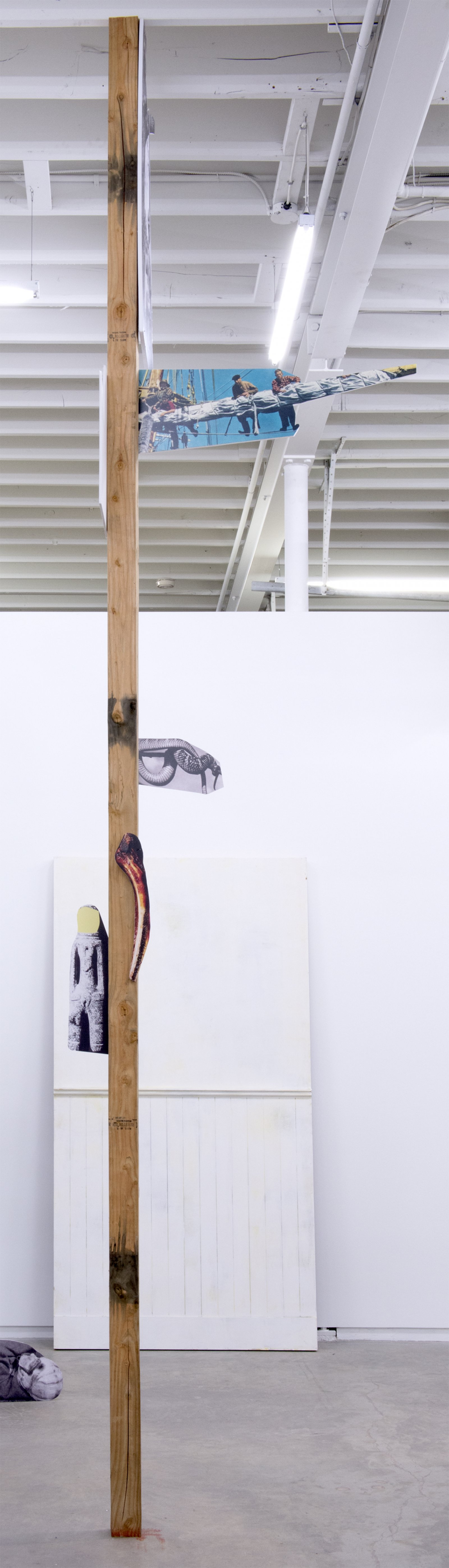 Geoffrey Farmer, The other ate one man, one man was set adrift, one man turned into a snake, one man washed ashore and became a statue and the others eyes were stolen by the owl., 2014, douglas fir pole, 6 photographs mounted on foamcore, 200 x 4 x 4 in. (508 x 9 x 9 cm)