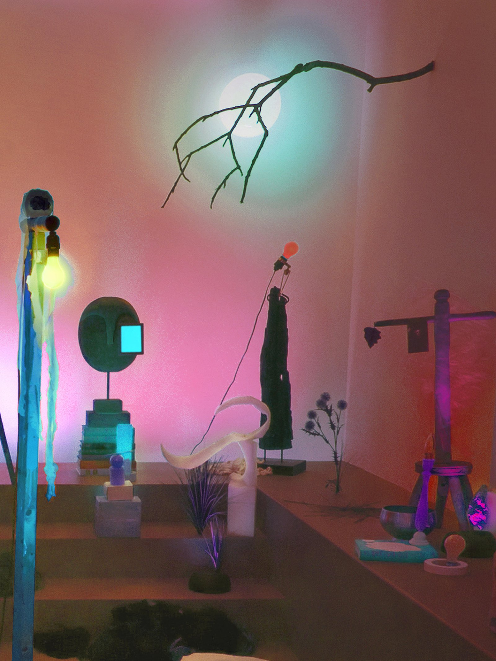 Geoffrey Farmer, Theatre of Cruelty, 2008, props, found objects, fabric, computer-controlled LED lighting system, speakers, framed photographs, dimensions variable
