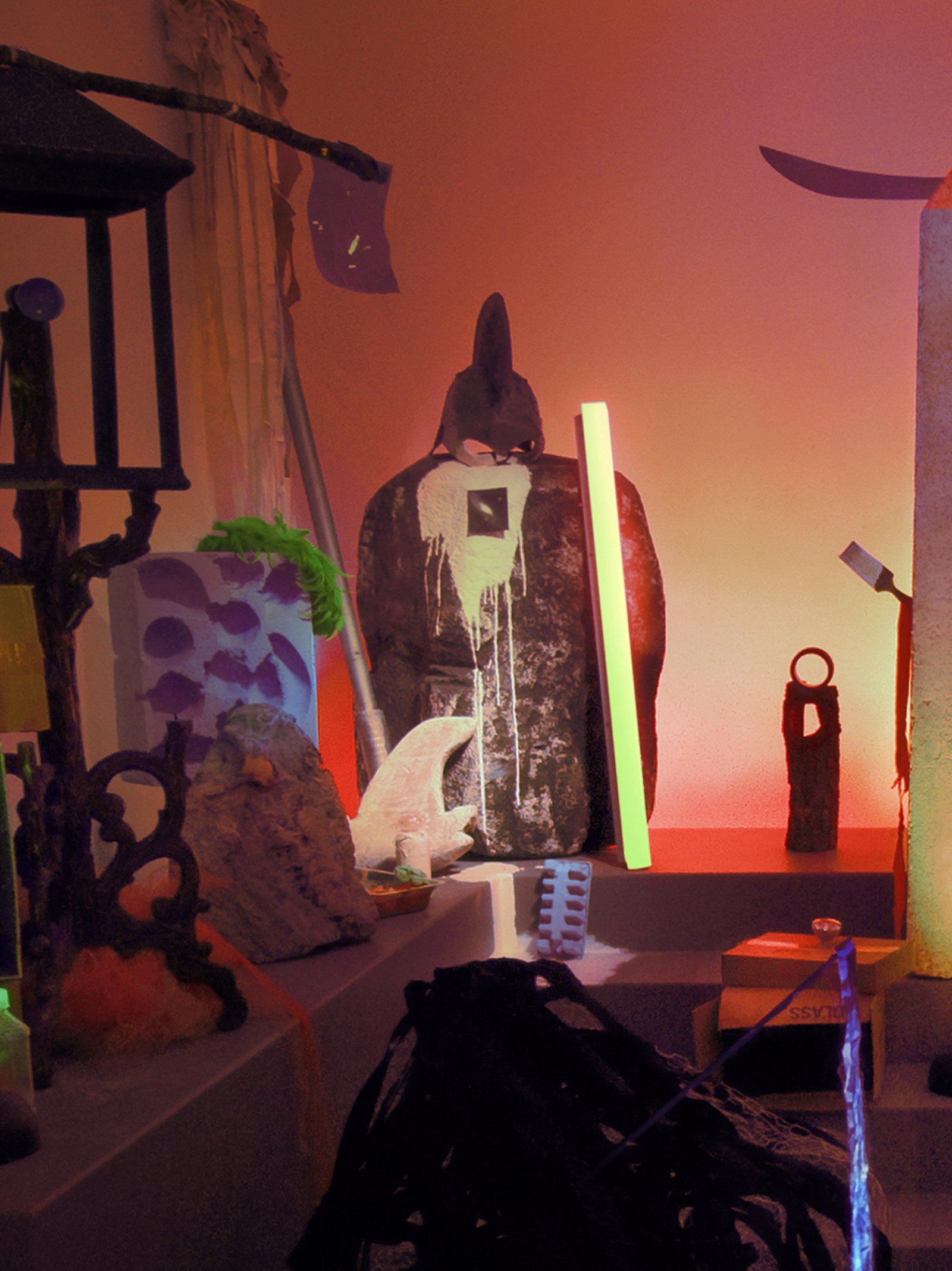 Geoffrey Farmer,Theatre of Cruelty, 2008, props, found objects, fabric, computer-controlled LED lighting system, speakers, framed photographs, dimensions variable