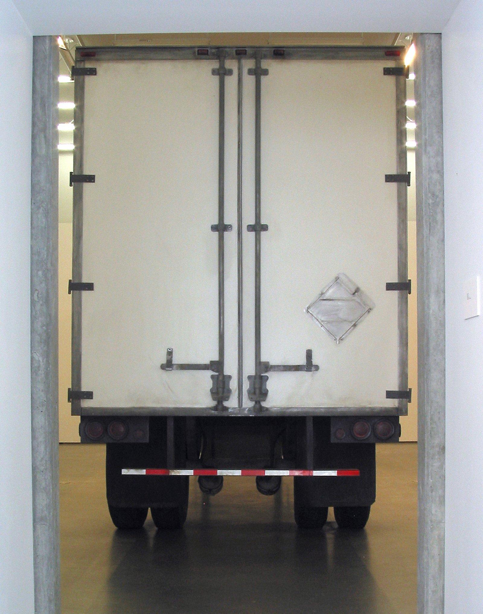 Geoffrey Farmer,Trailer, 2002, steel, fiberboard, mixed media, 134 x 87 x 354 in. (340 x 220 x 900 cm)