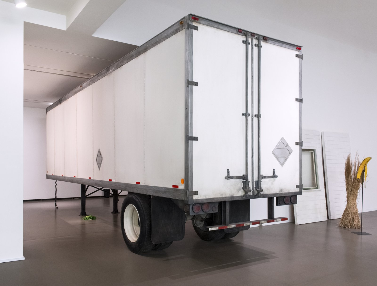 Geoffrey Farmer,Trailer, 2002, steel, fiberboard, mixed media, 134 x 87 x 354 in. (340 x 220 x 900 cm). Installation view, How Do I Fit This Ghost inMy Mouth?, Vancouver Art Gallery, 2015
