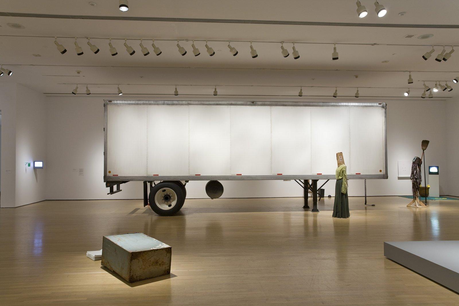 Geoffrey Farmer,Trailer, 2002, steel, fiberboard, mixed media, 134 x 87 x 354 in. (340 x 220 x 900 cm). Installation view, Musée d'art contemporain de Montréal, 2008