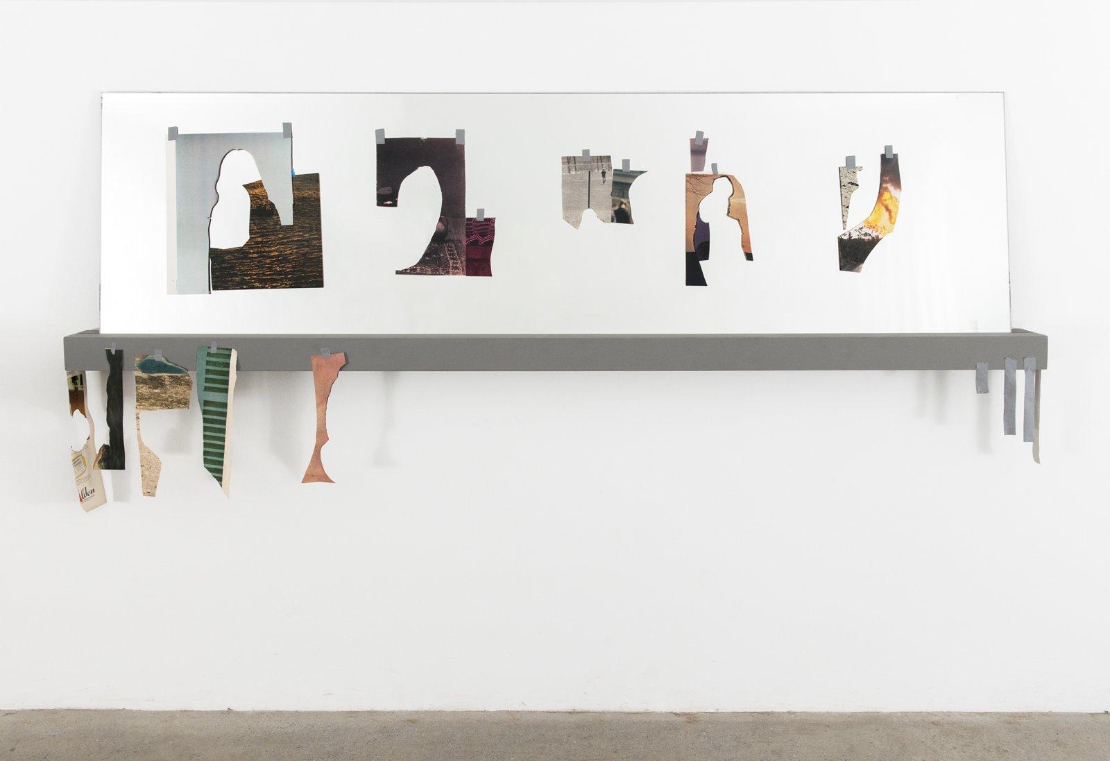 Geoffrey Farmer,Untitled, 2012, mirror,LIFEMagazinecutouts, wood shelf, tape, 23 x 76 x 5 in. (59 x 192 x 12 cm)