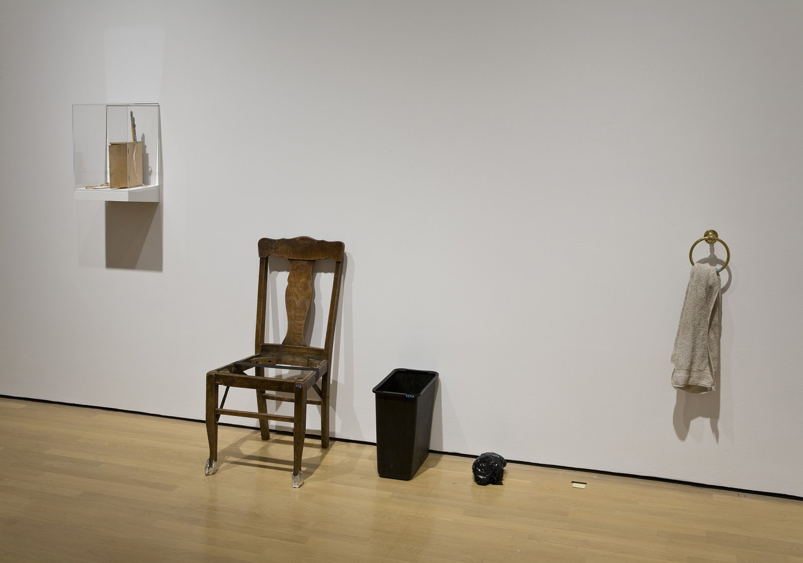 Geoffrey Farmer, Void Numbering Project (continuous), 1992, wooden box containing various materials such as paint, paintbrushes, masking tape and shelf with plexiglass top, dimensions variable by Geoffrey Farmer