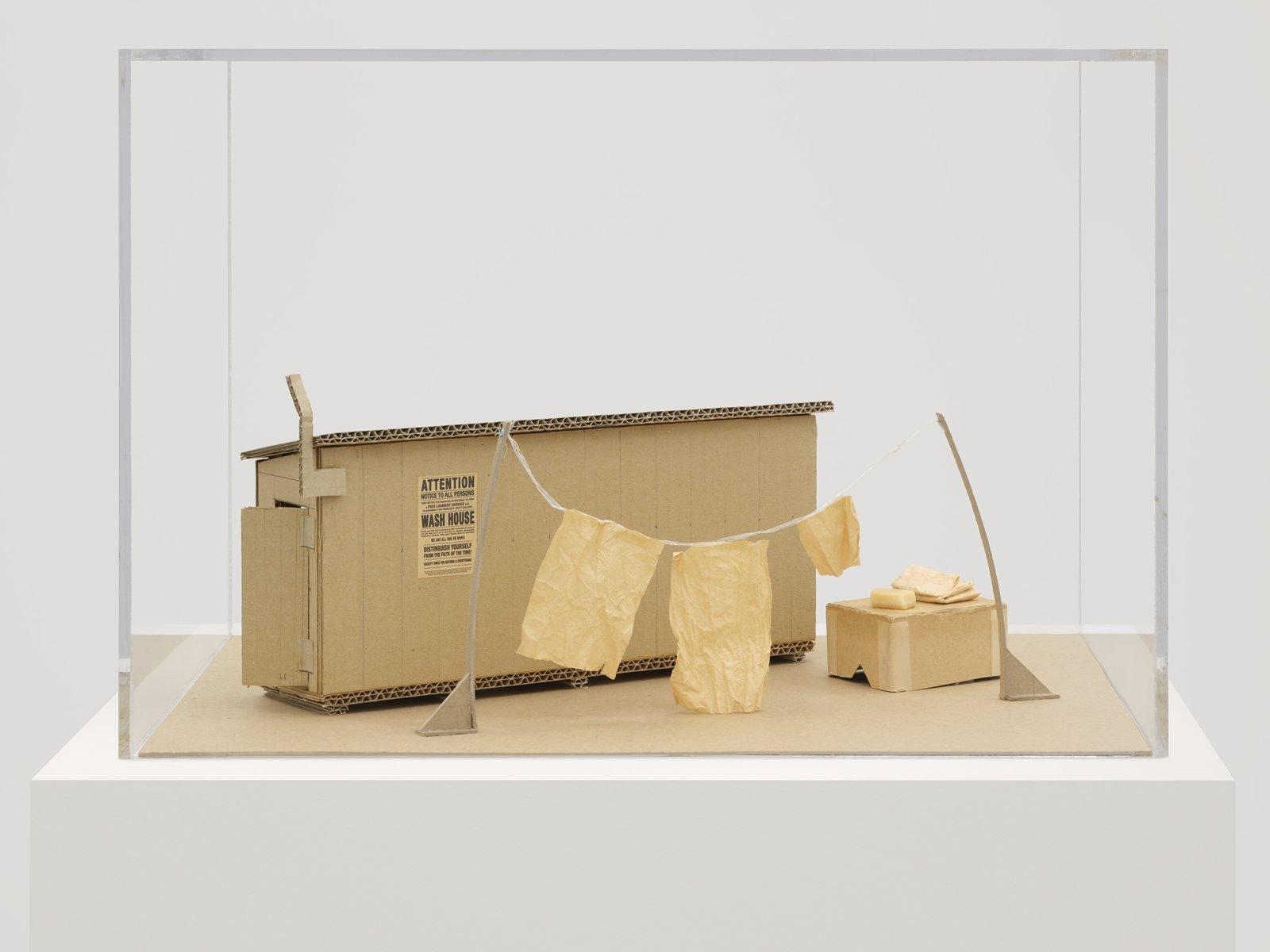Geoffrey Farmer, Wash House Maquette, 2007, cardboard, rice paper, string, digital print, soap, plexiglas case, 20 x 14 x 13 in. (50 x 36 x 33 cm)