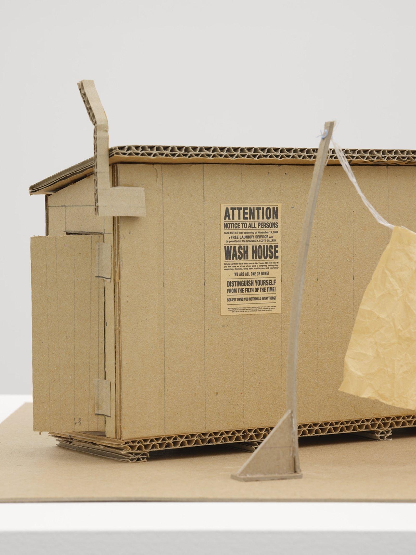 Geoffrey Farmer, Wash House Maquette (detail), 2007, cardboard, rice paper, string, digital print, soap, plexiglas case, 20 x 14 x 13 in. (50 x 36 x 33 cm)