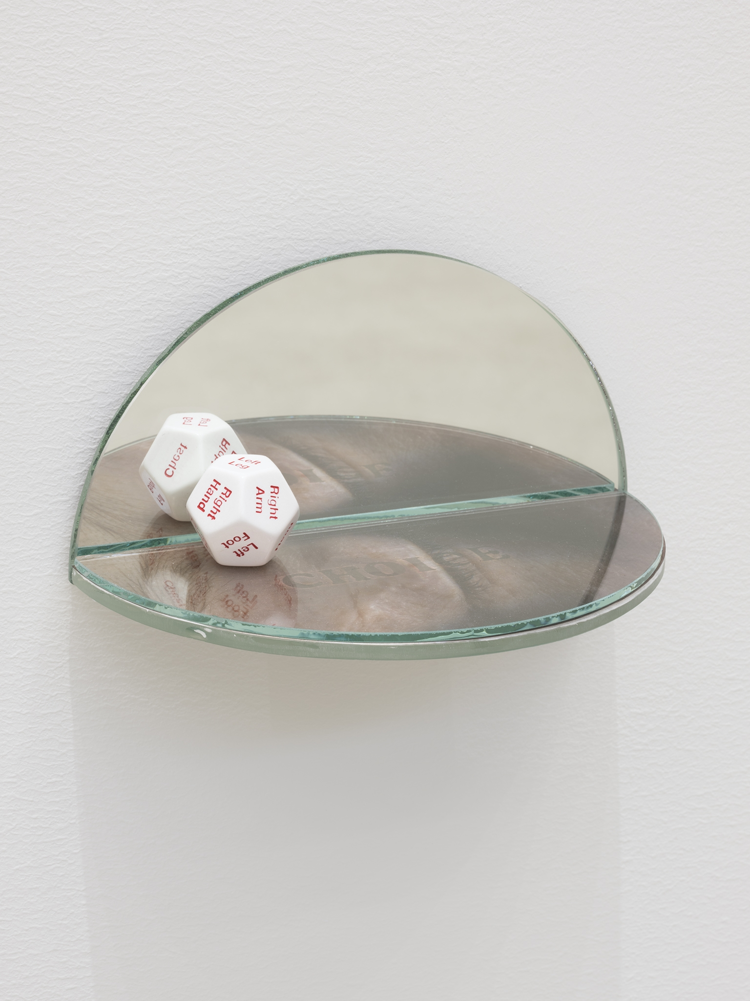 ​​​​​​Julia Feyrer, The Ambidextrous Universe: seeing, 2018, mirror, liquid mirror, glass, fujiclear transparency, 12-sided die, 4 x 4 x 7 in. (9 x 9 x 18 cm)​​​​​ by