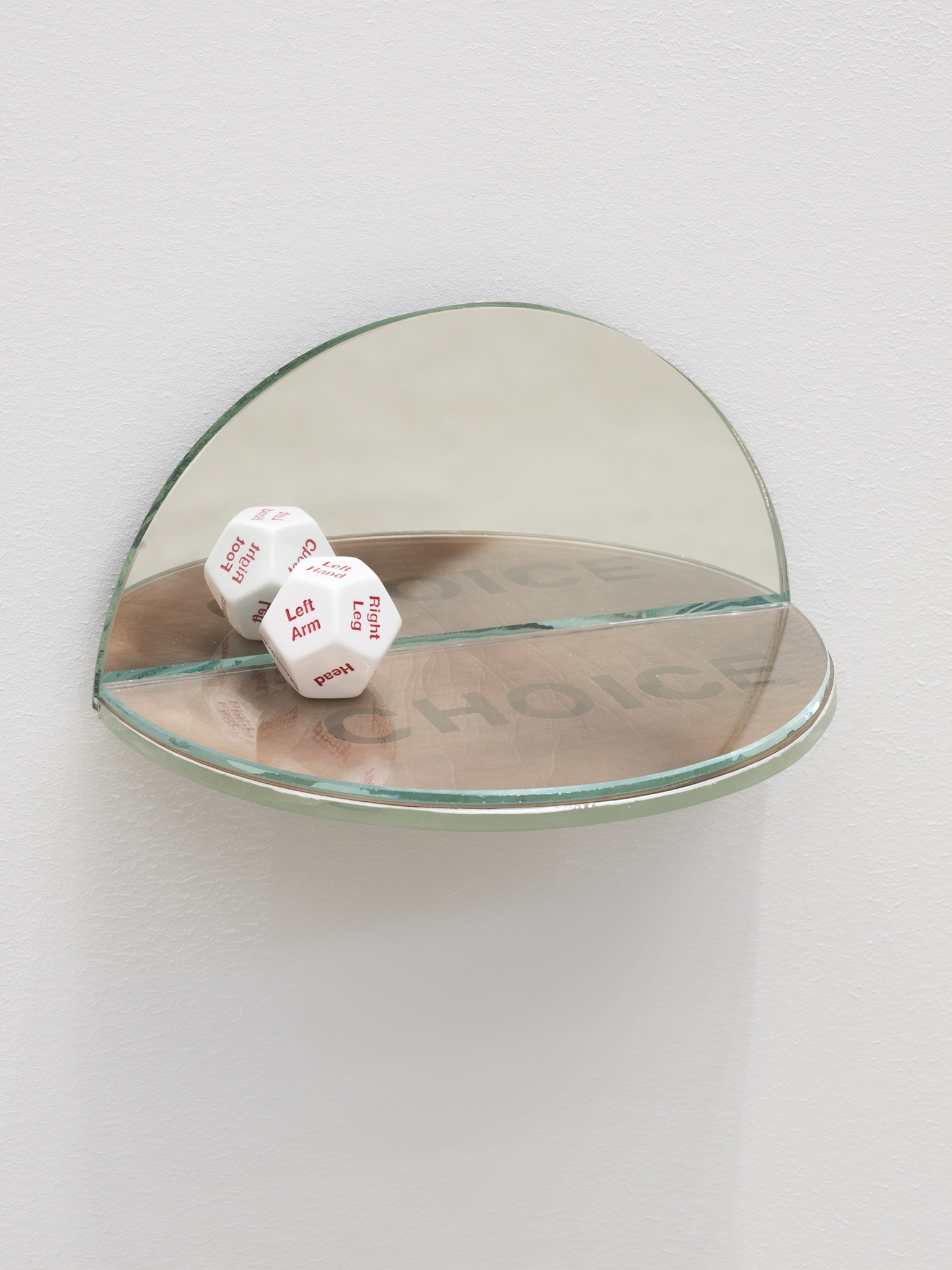 ​​​​Julia Feyrer, The Ambidextrous Universe: touching, 2018, mirror, liquid mirror, glass, fujiclear transparency, 12-sided die, 4 x 4 x 7 in. (9 x 9 x 18 cm)​​​ by
